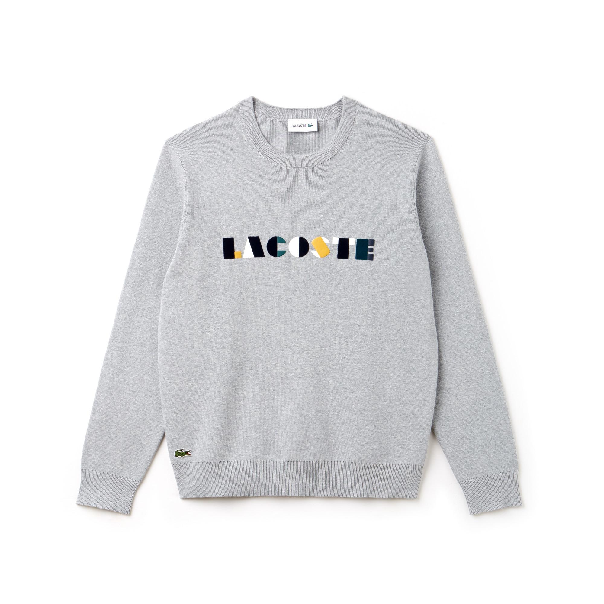 Men's Crew Neck Lacoste Lettering Ribbed Pima Cotton Sweater