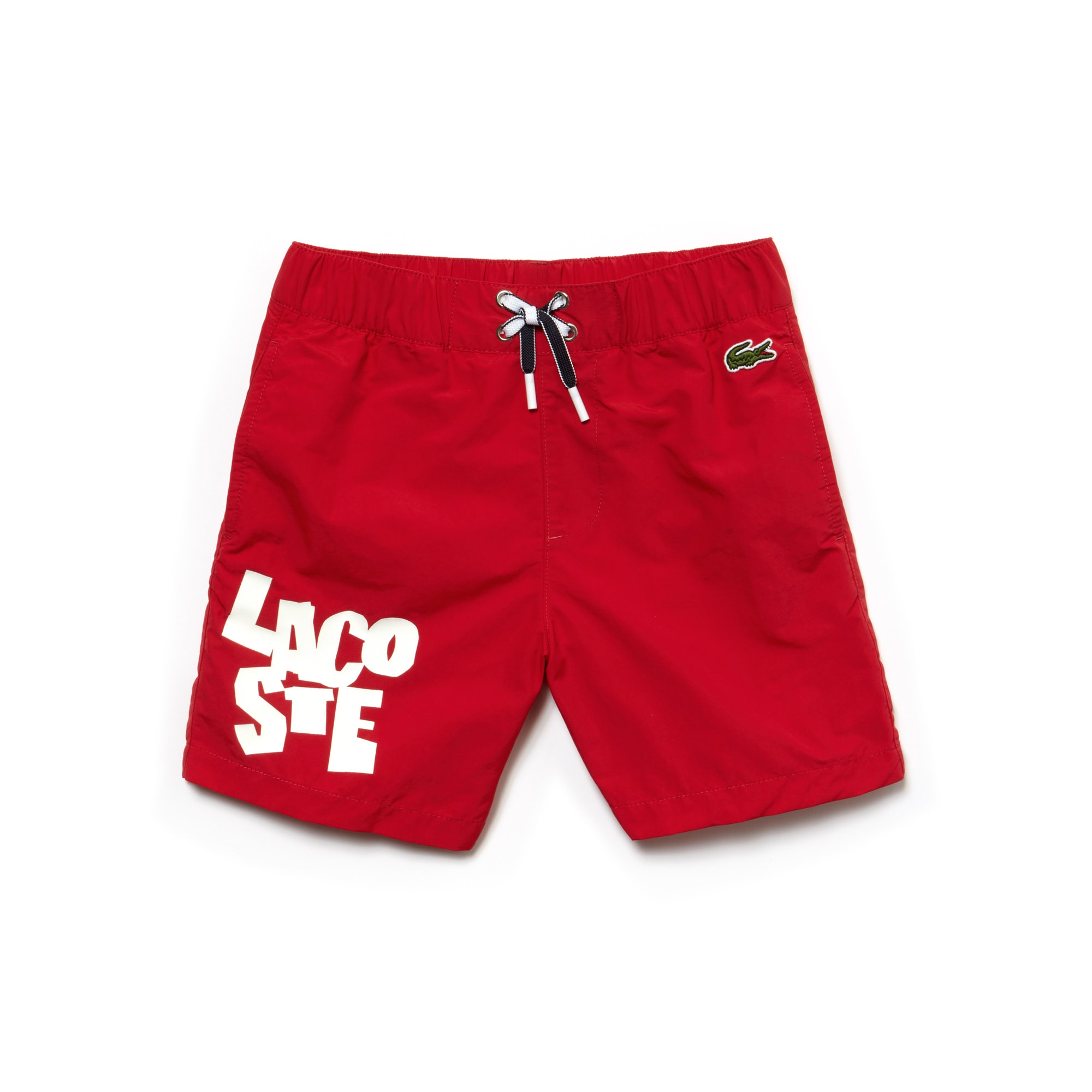 Boys' Lacoste Lettering Canvas Swimming Trunks