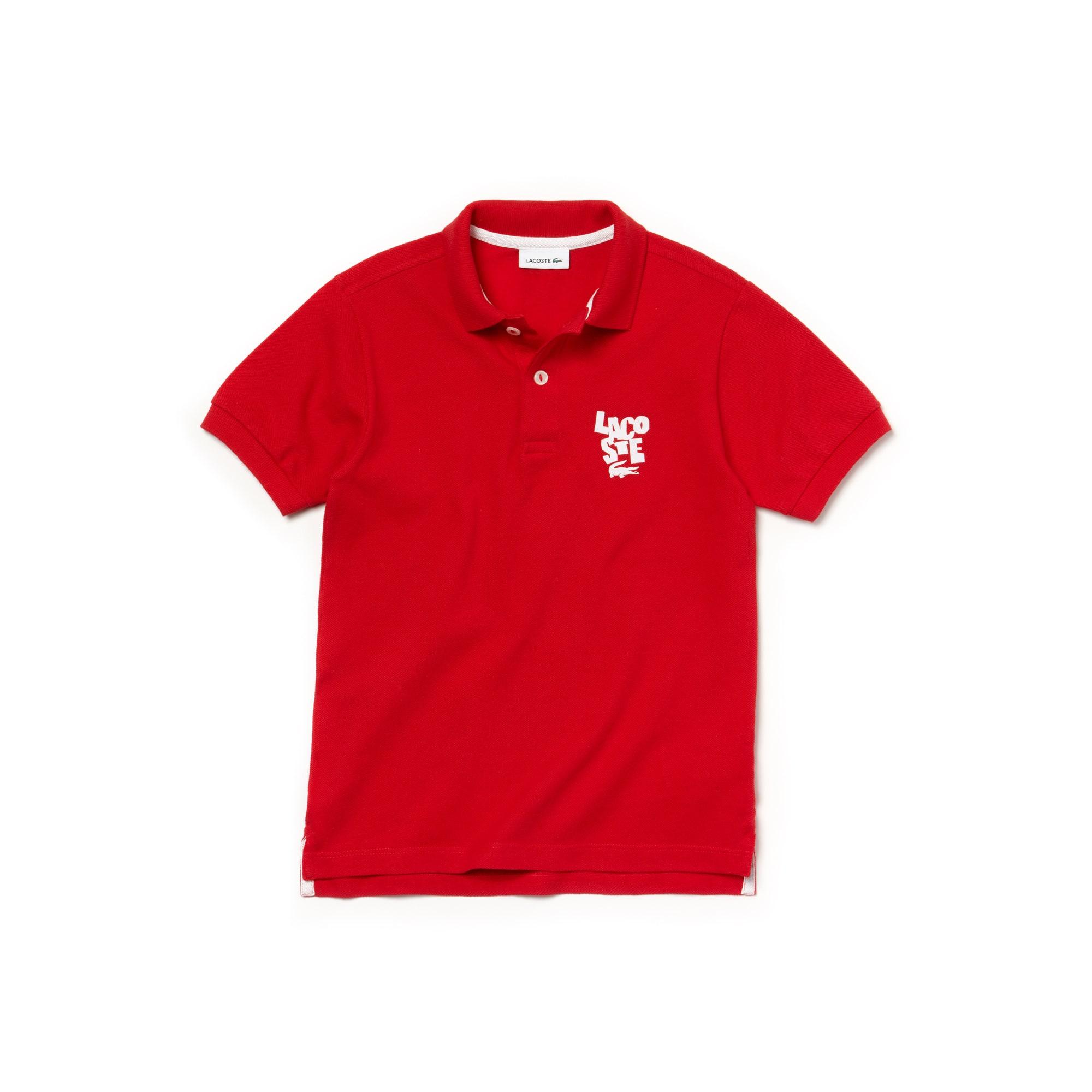 Boys' Lacoste Lettering Cotton Petit Piqué Polo Shirt