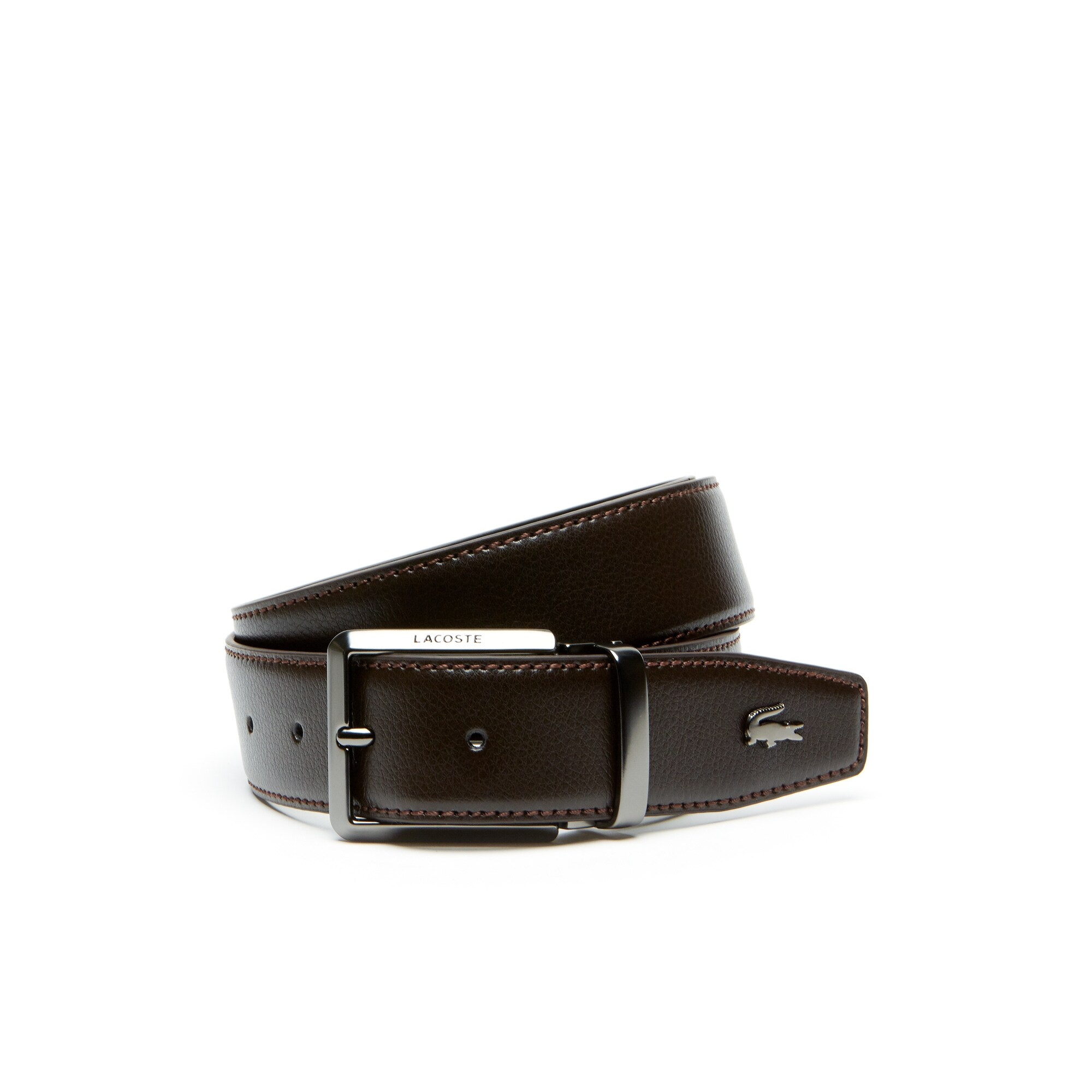 Men's Lacoste Engraved Tongue Buckle Reversible Leather Belt