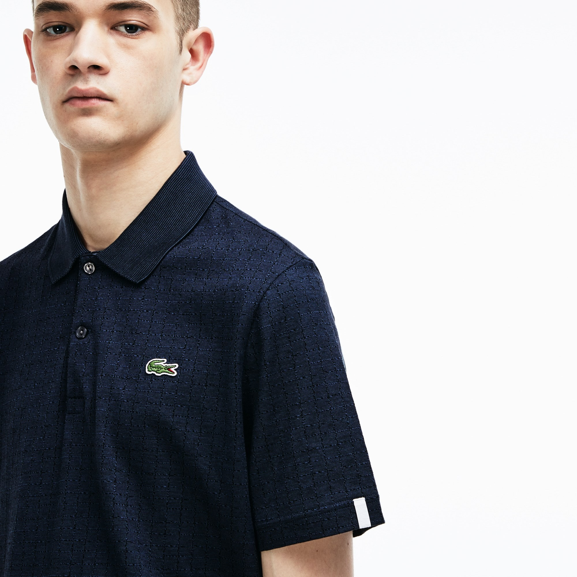 Men's Lacoste LIVE Regular Fit Print Cotton Jacquard Polo Shirt