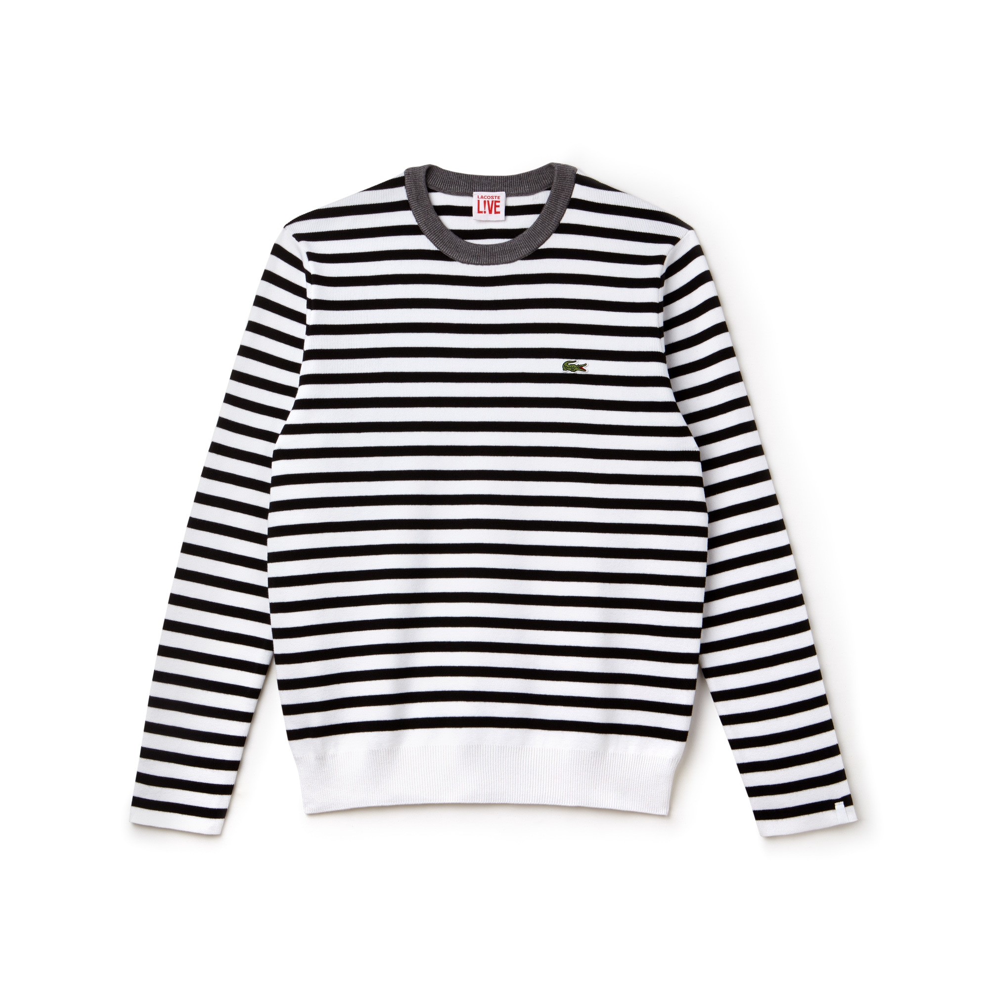 Men's Lacoste LIVE Crew Neck Striped Cotton Jersey Sweater