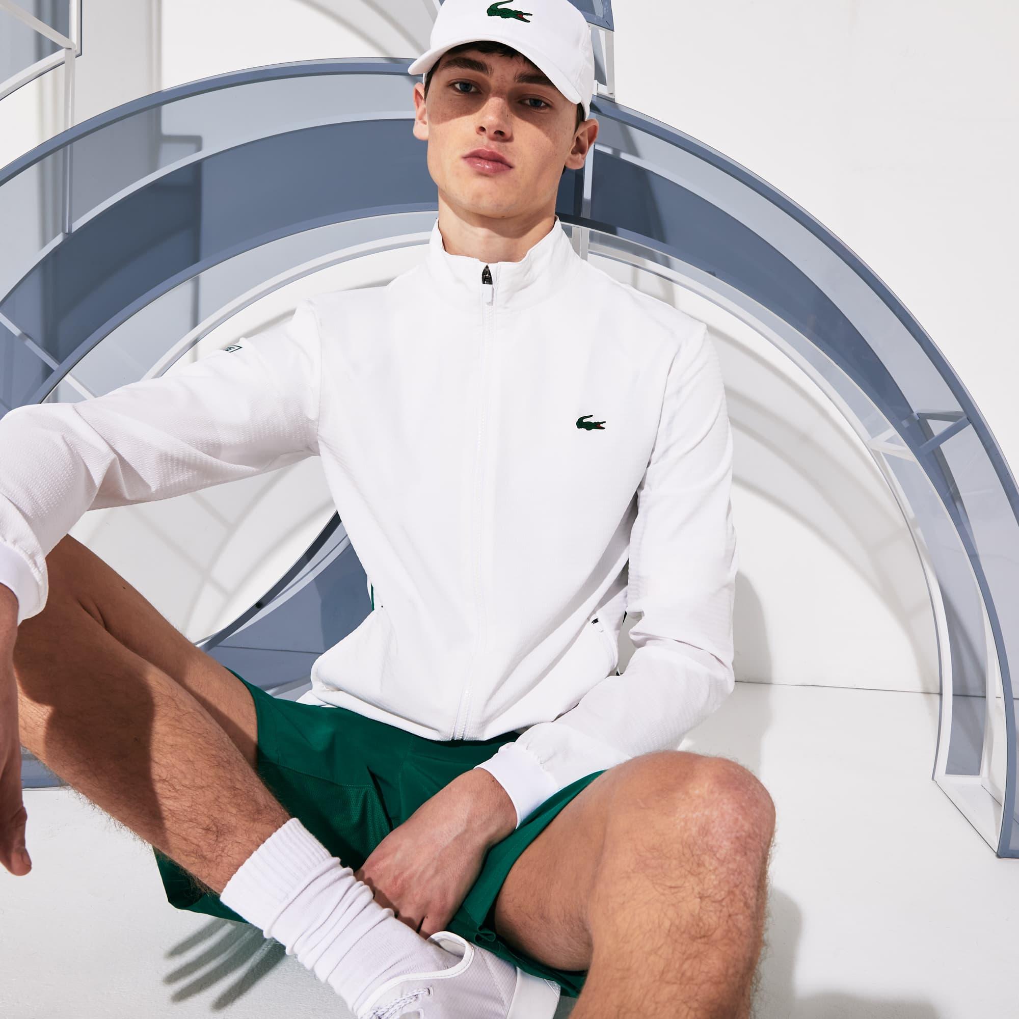 Men's Lacoste SPORT x Novak Djokovic Textured Zip Jacket