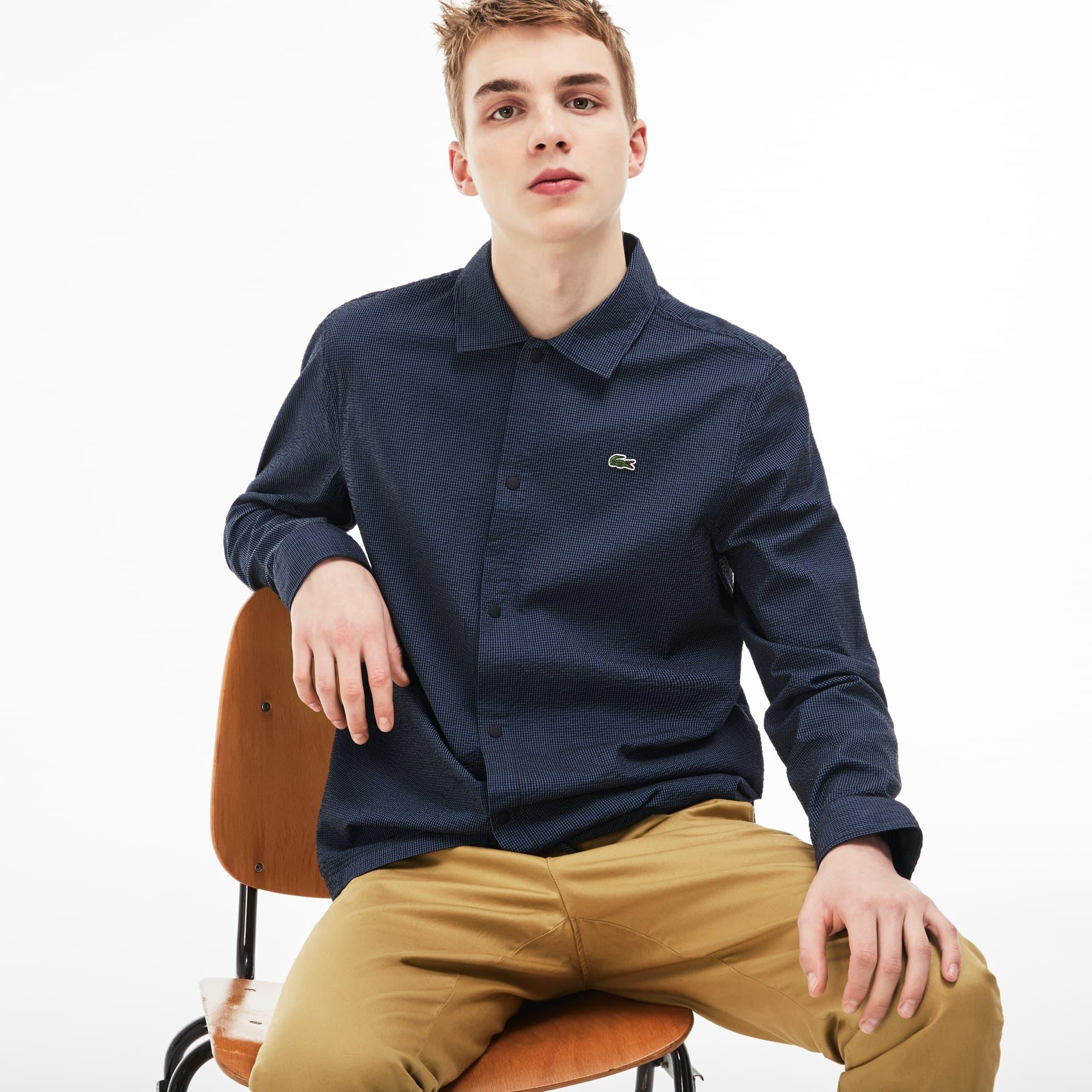 Men's Lacoste LIVE Slim Fit Gingham Seersucker Shirt