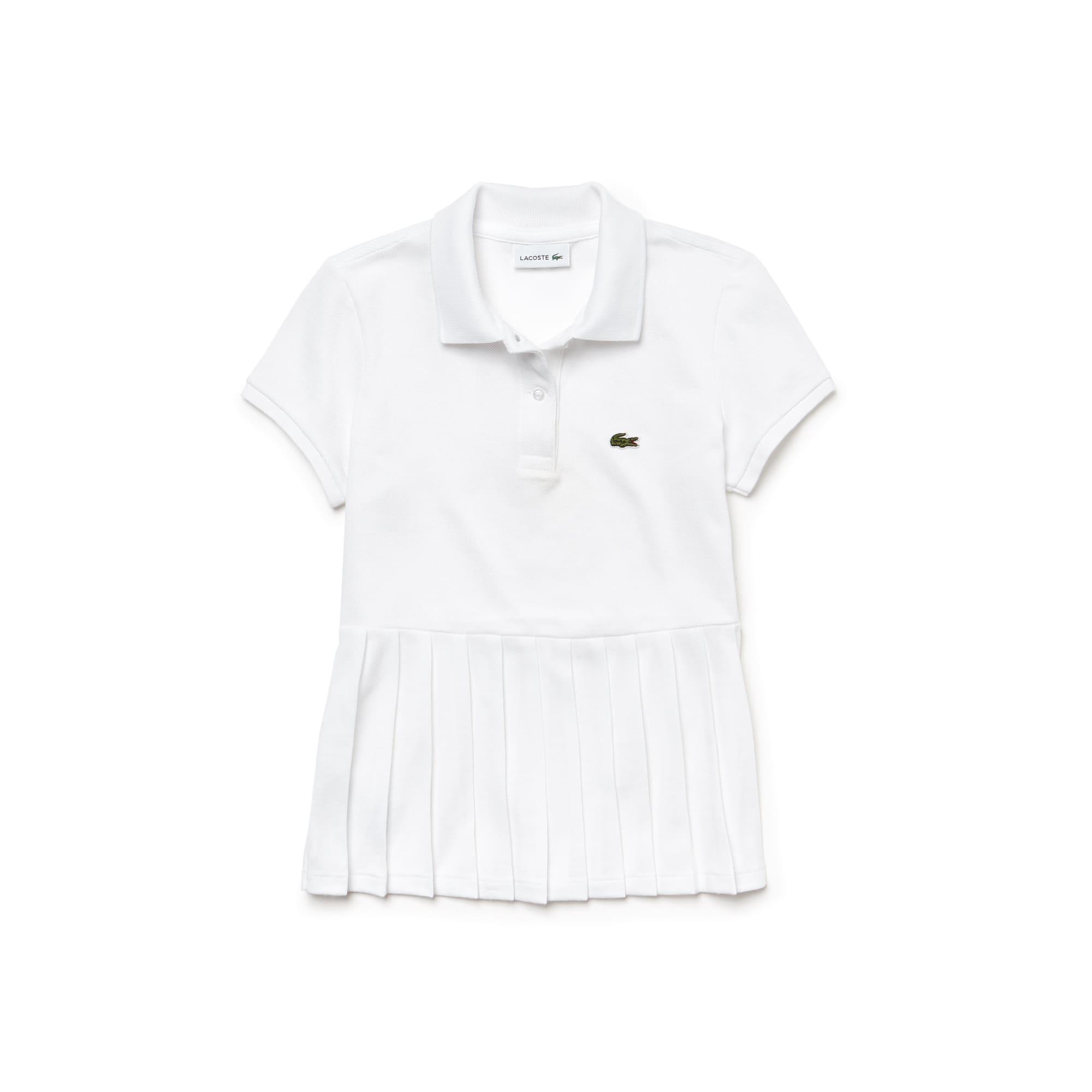 Girls' Lacoste Flat Pleated Cotton Petit Piqué Polo Shirt