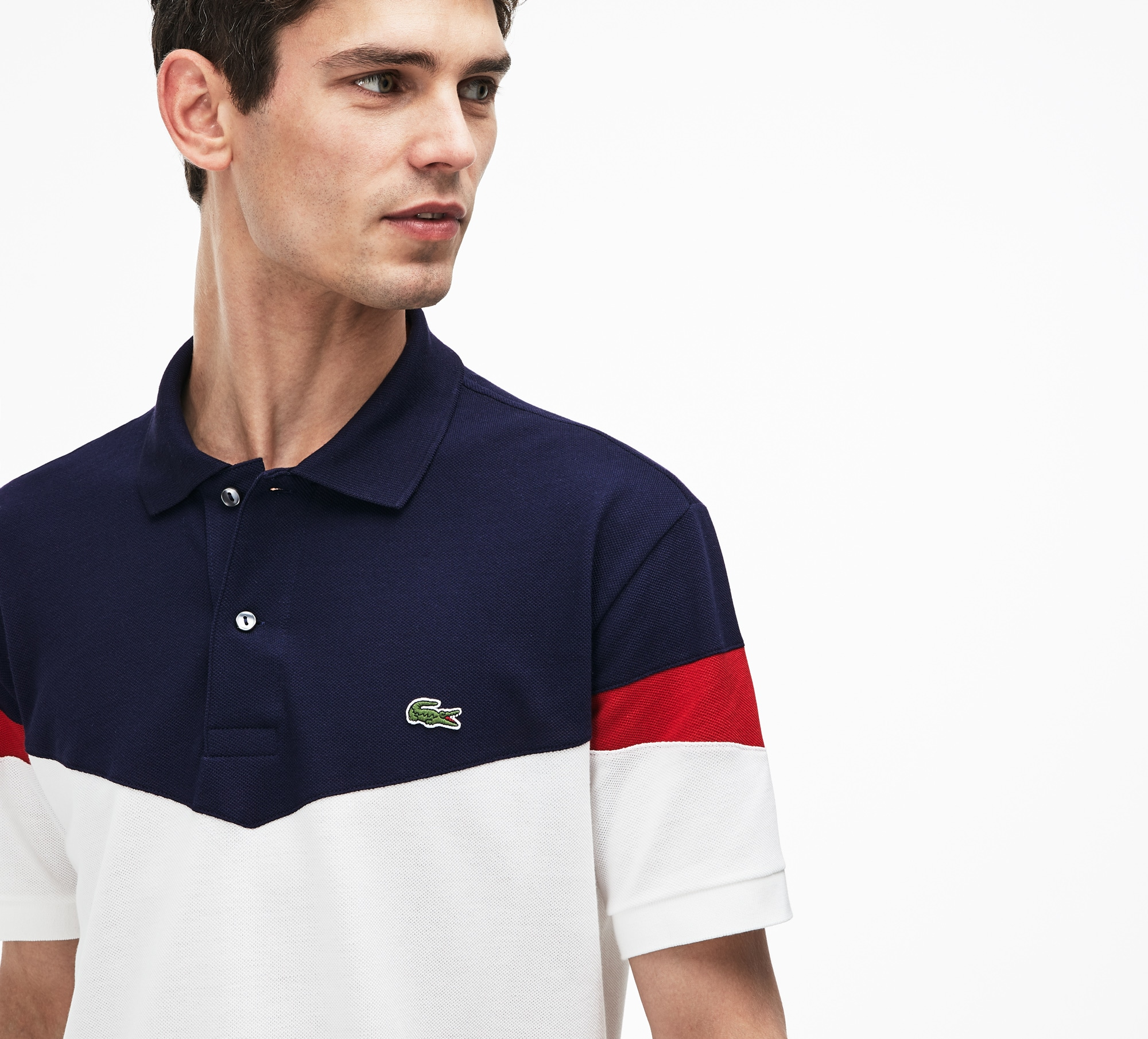 Men's Lacoste Classic Fit Colorblock Cotton Petit Piqué Polo...