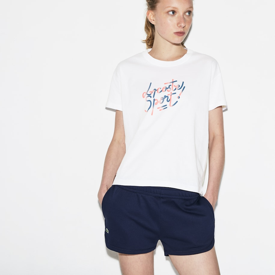 Women's Lacoste SPORT Crew Neck Shaded Design Tennis T-shirt