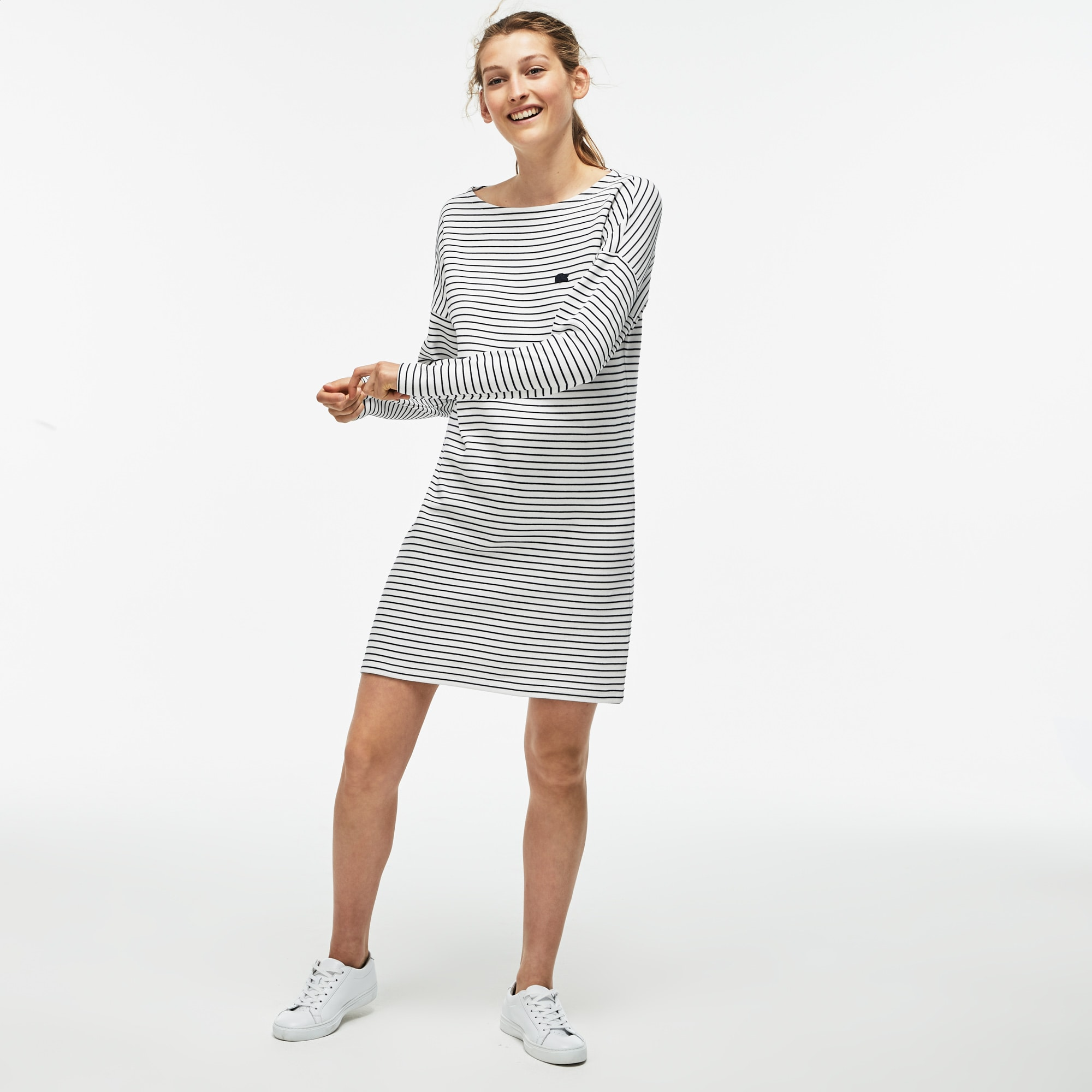 Women's Boat Neck Striped Interlock Nautical Dress