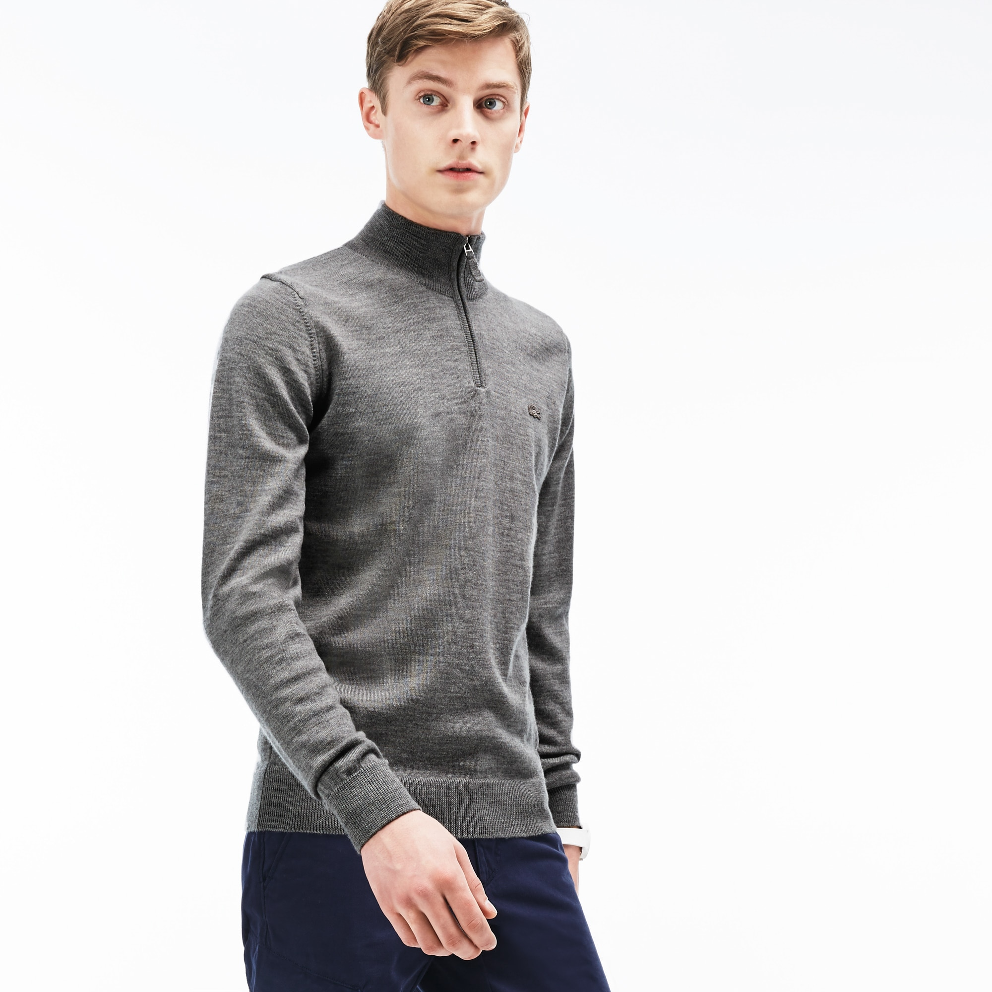 Men's Zippered Stand-Up Collar Wool Jersey Sweater