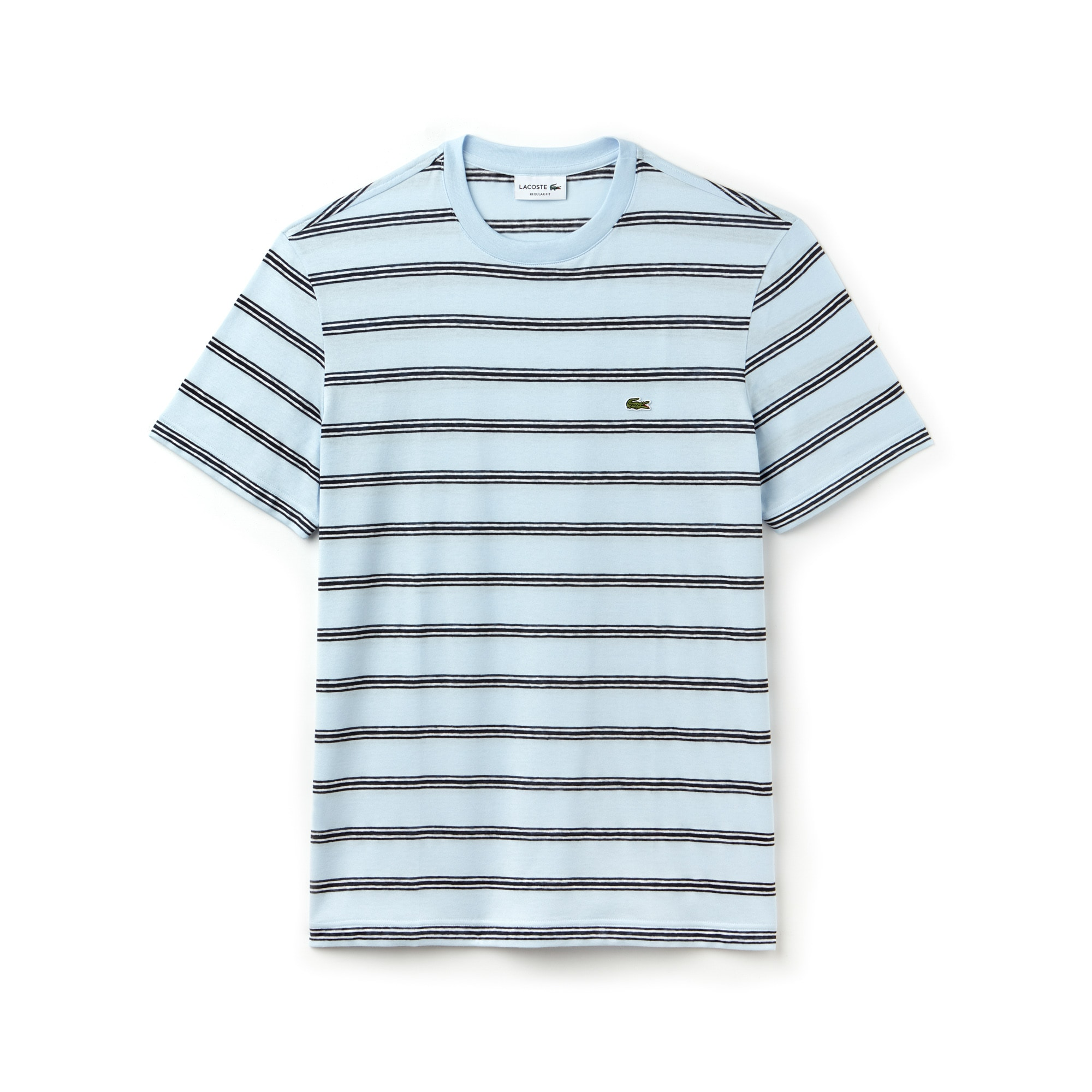 Men's Crew Neck Striped Cotton And Linen Jersey T-shirt