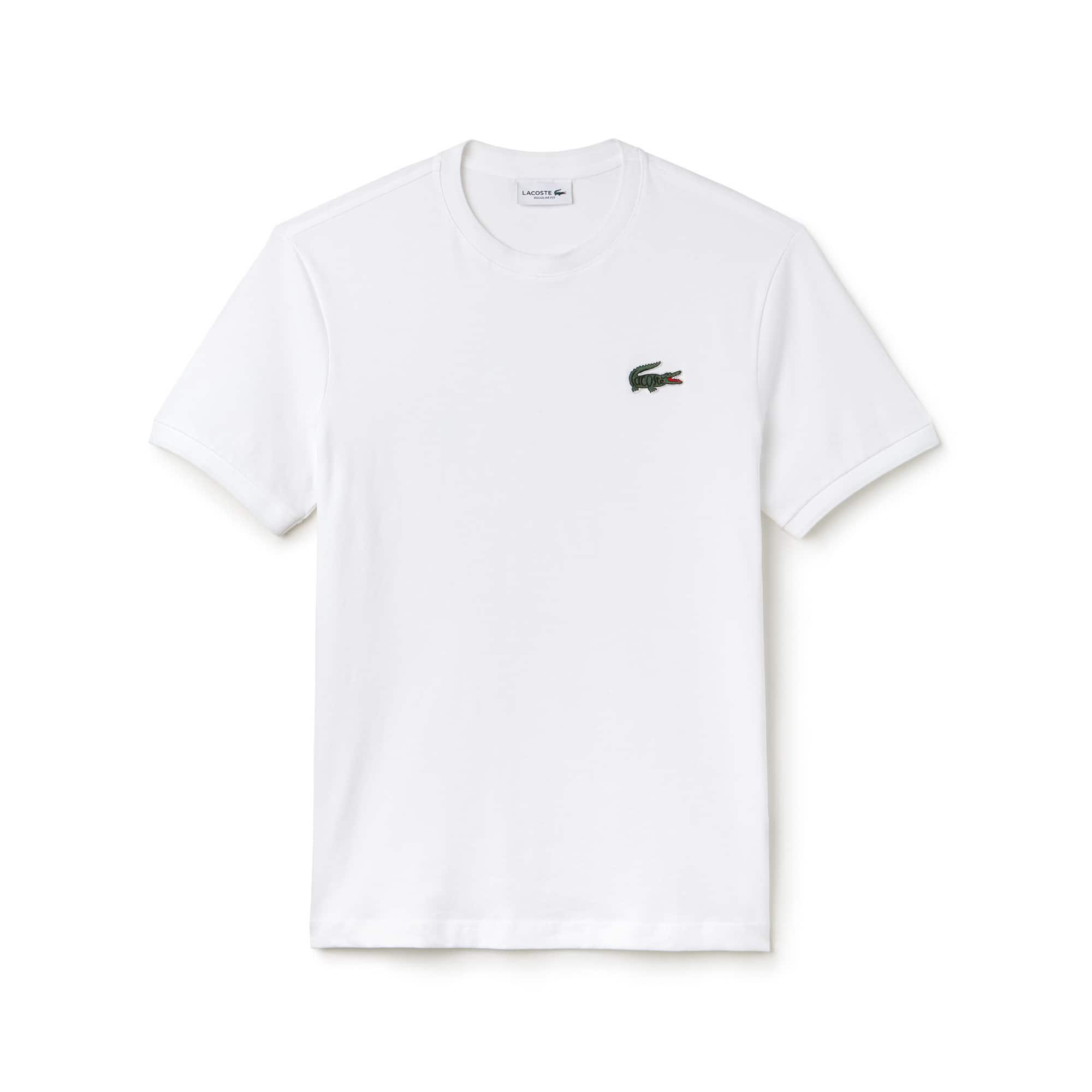 fe10a8503bb T-shirt col rond en jersey de coton avec crocodile marqué Lacoste ...