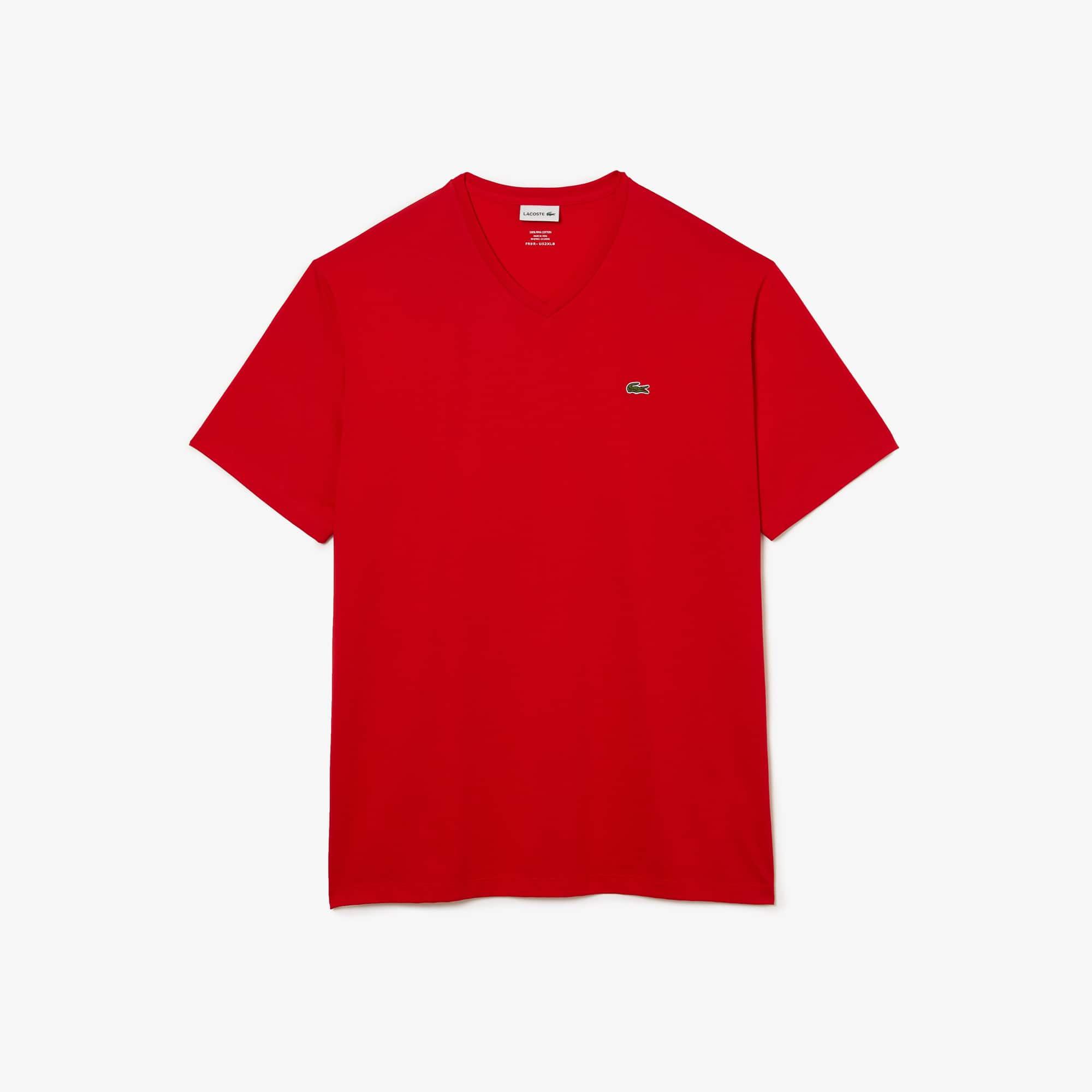 T-shirt col V en jersey pima