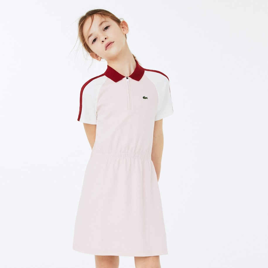 Robe polo zippée Fille en coton color-block