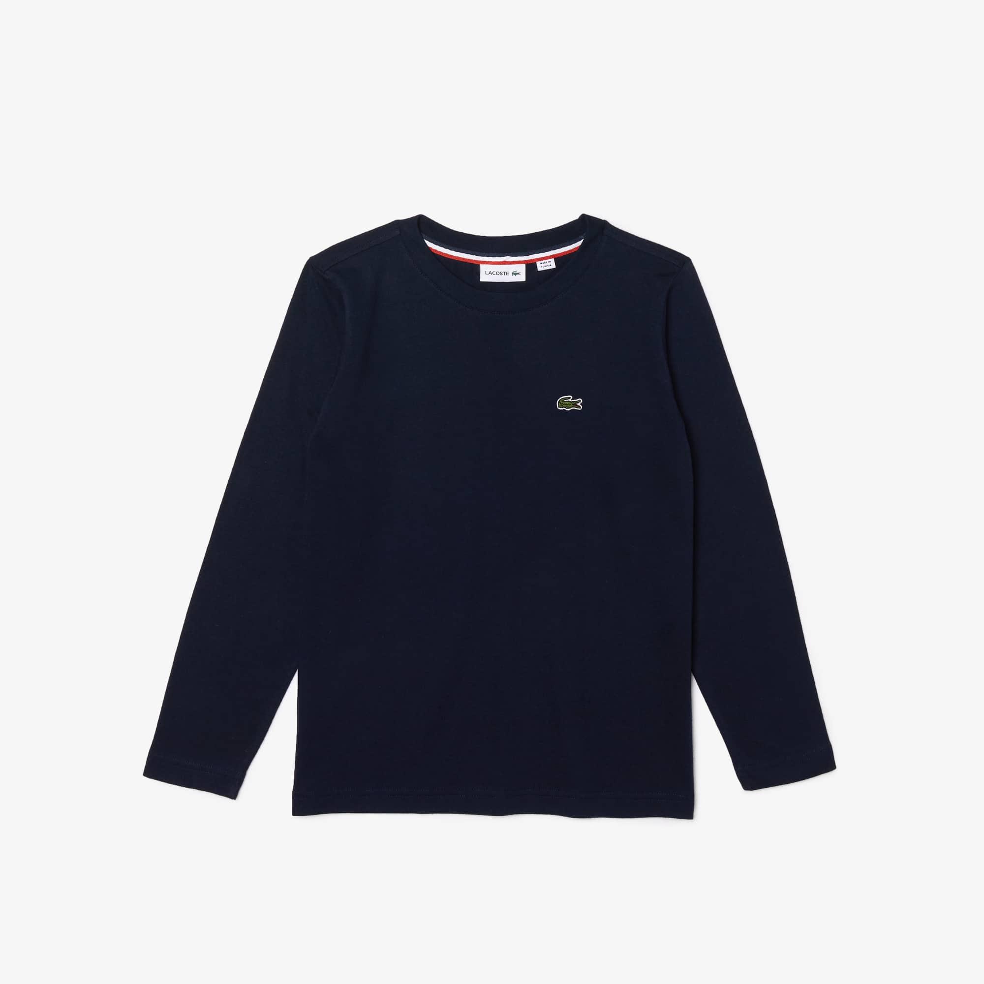 T-shirt Garçon col rond à manches longues en jersey uni