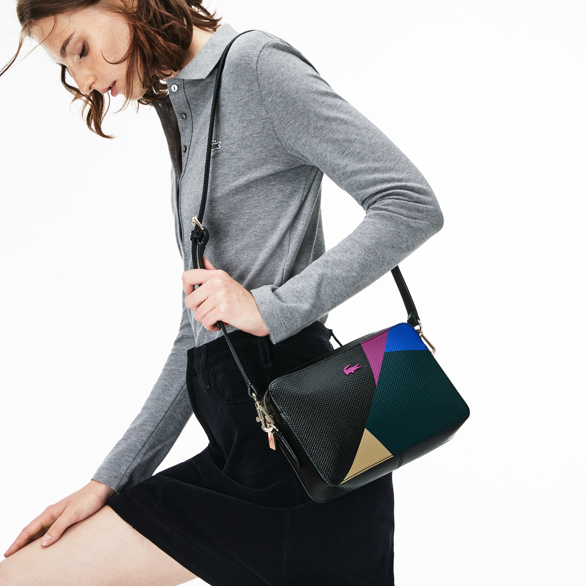 Sac bandoulière carré Chantaco en cuir imprimé color block
