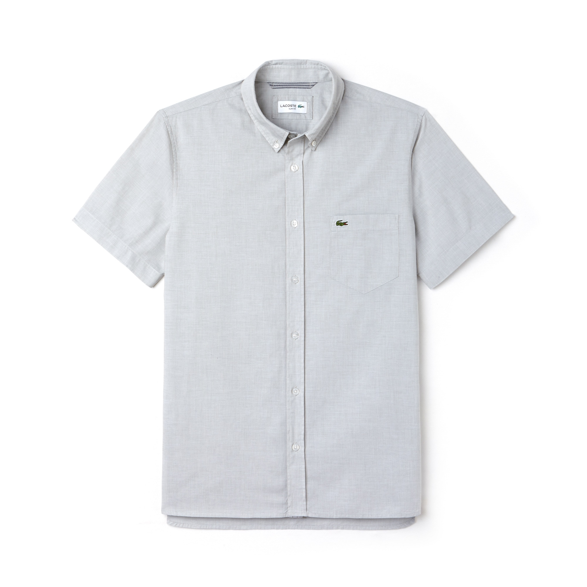 Chemise slim fit à manches courtes en fil à fil de coton uni