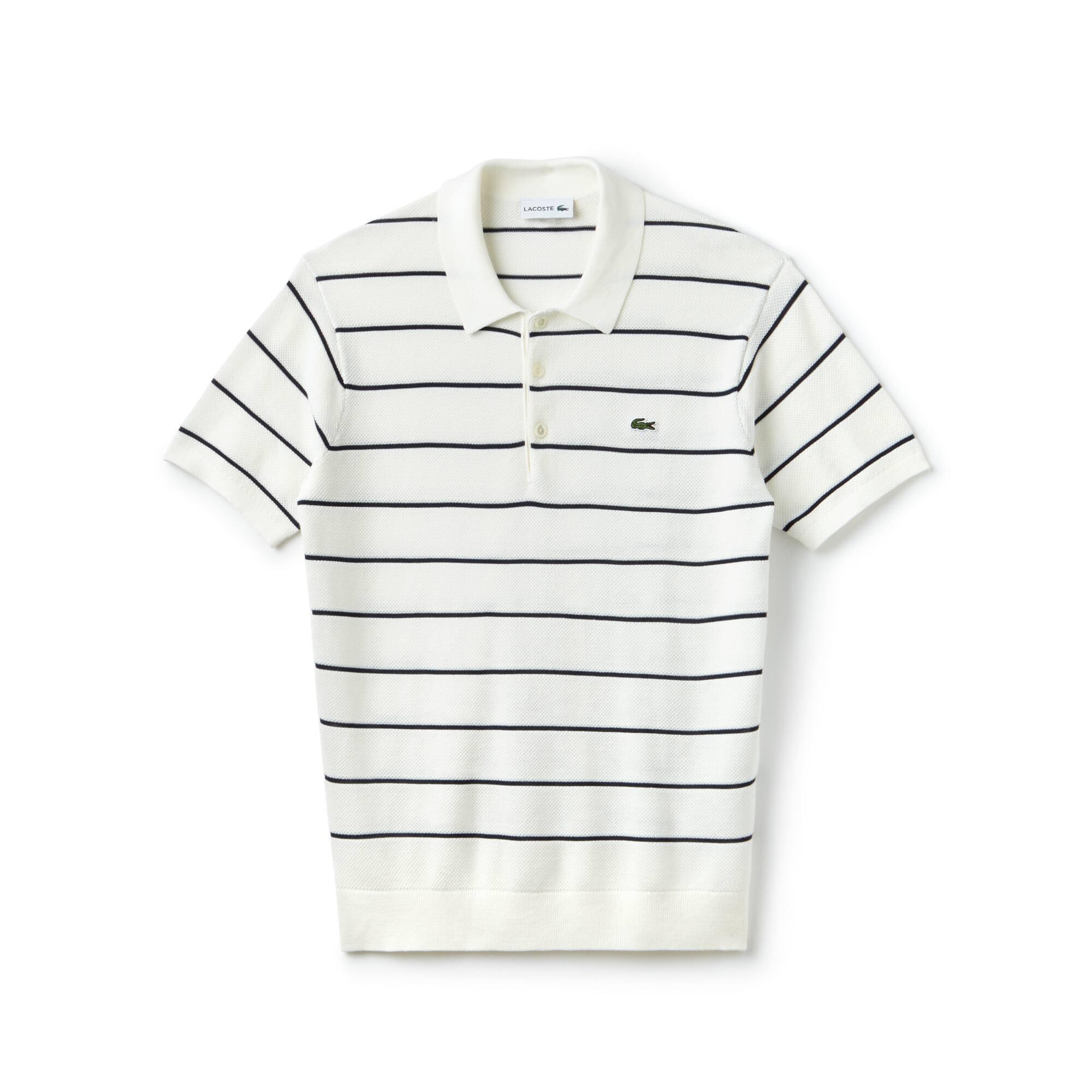 Pull col polo à manches courtes en jersey et piqué à rayures