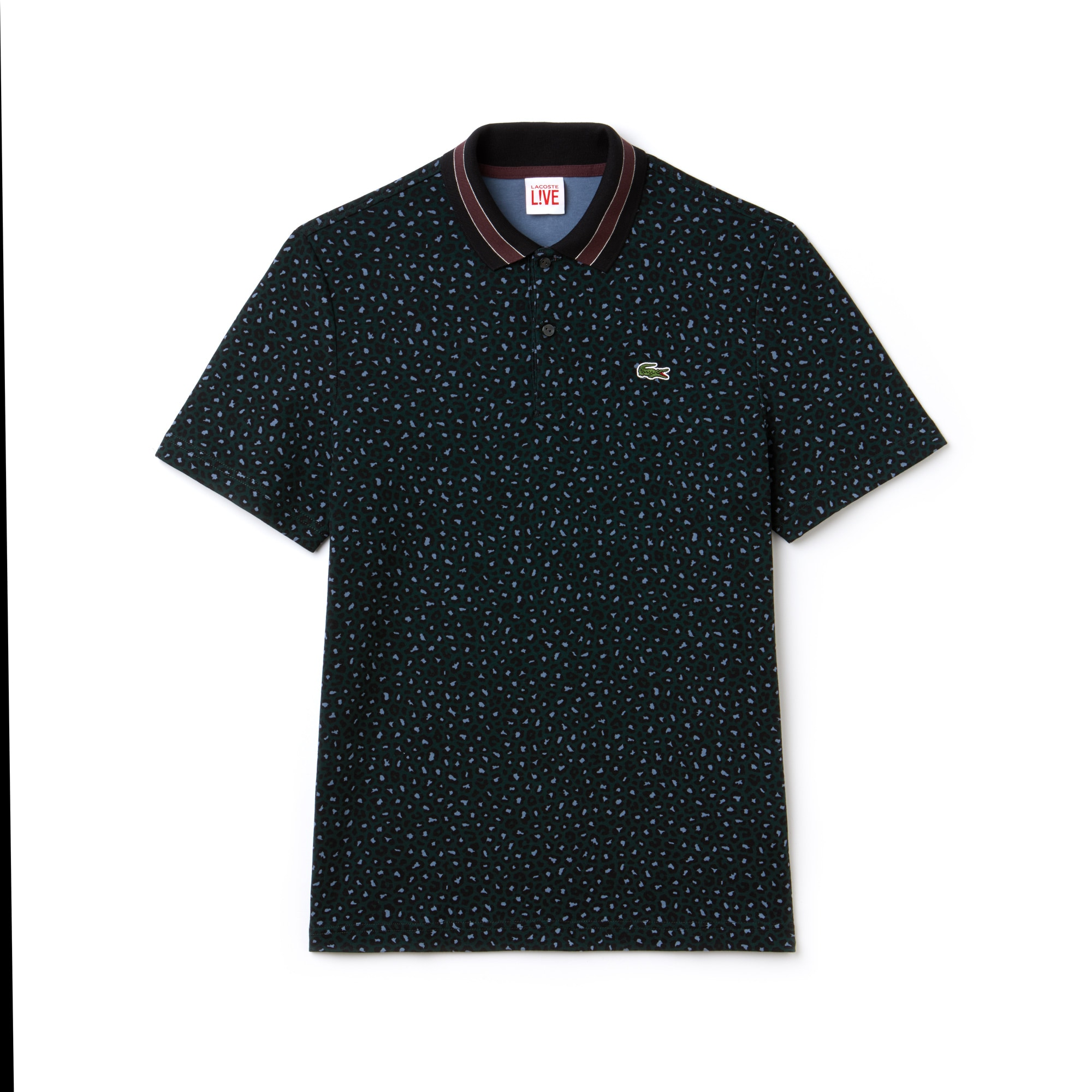 Polo regular fit Lacoste LIVE en interlock imprimé léopard