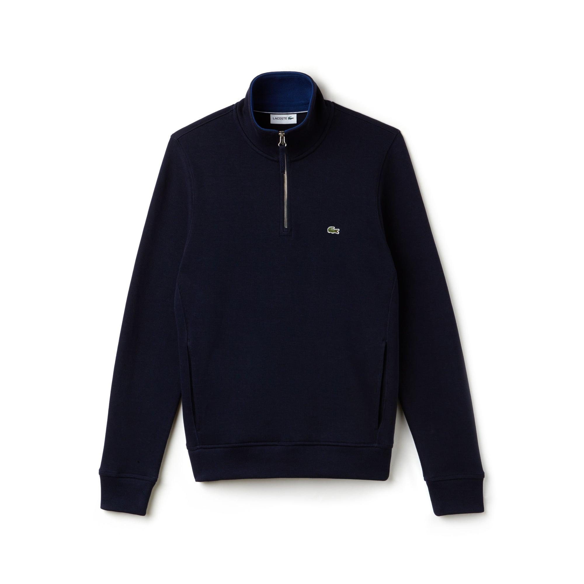 Sweatshirt col montant zippé en interlock côtelé