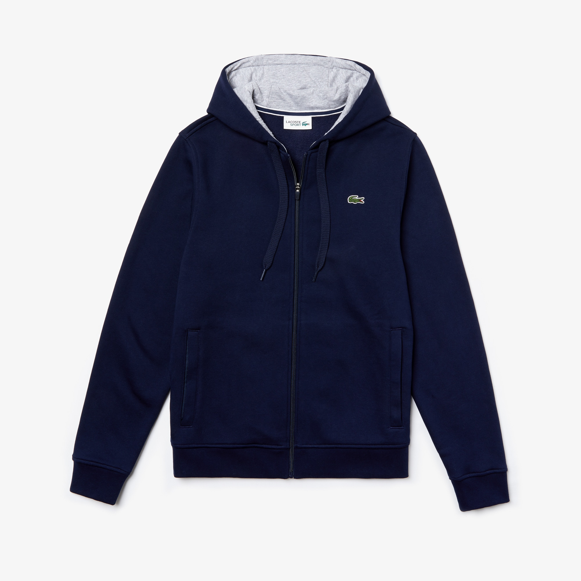 Sweatshirt zippé à capuche Tennis Lacoste SPORT en molleton uni