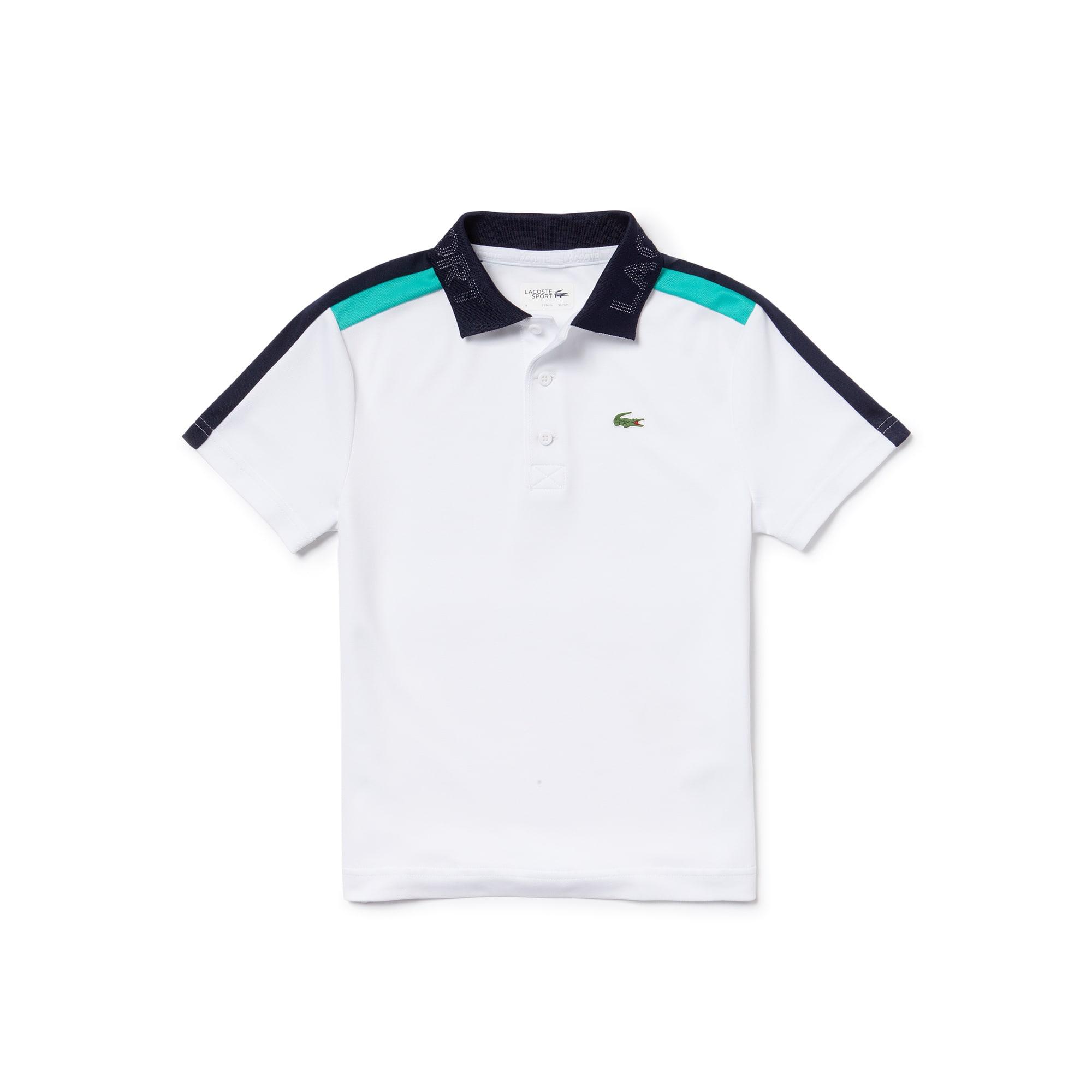Polo Garçon Tennis Lacoste SPORT en piqué technique à bandes contrastées