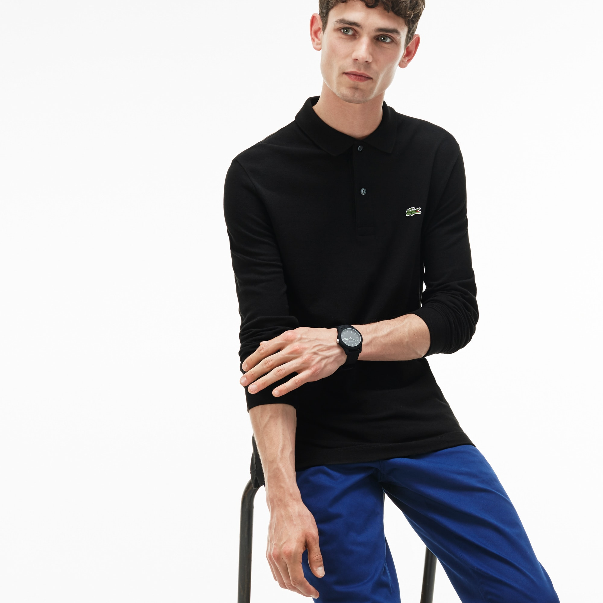 Polo slim fit Lacoste à manches longues en