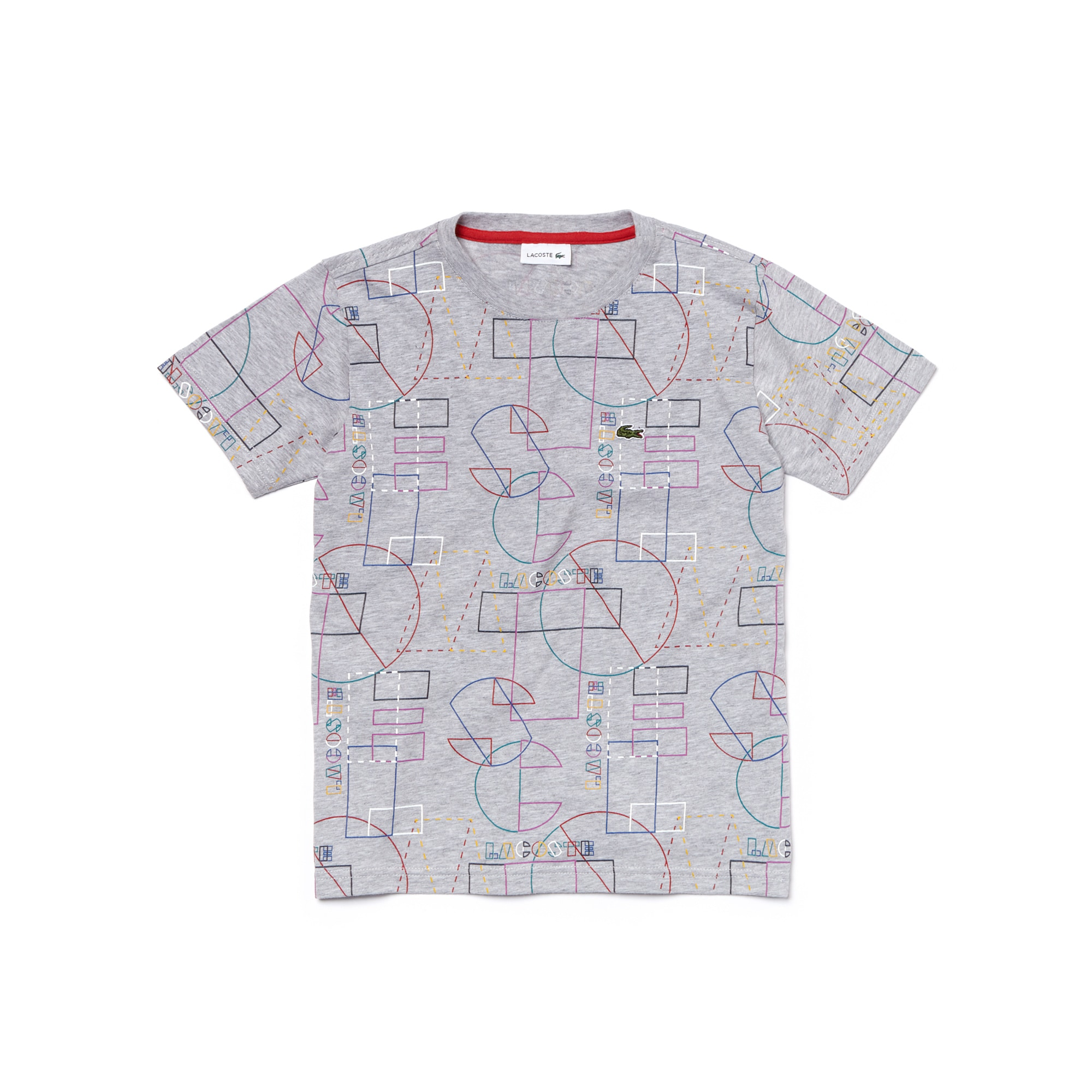 T-shirt Garçon col rond en jersey de coton imprimé géométrique