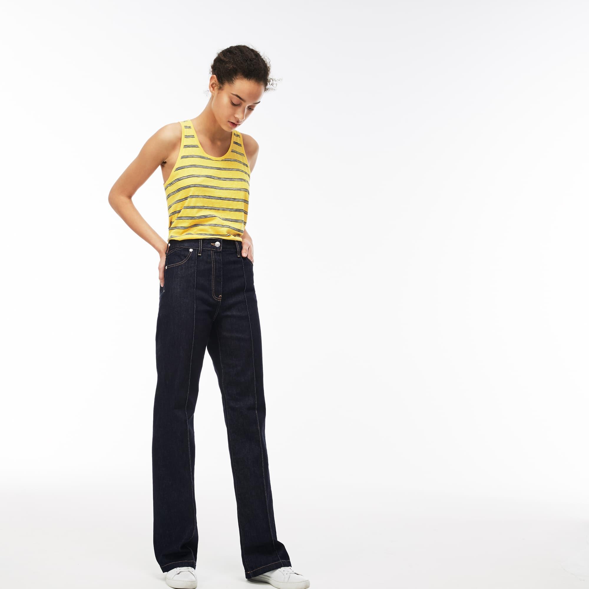 Jean boot cut en denim de coton stretch uni