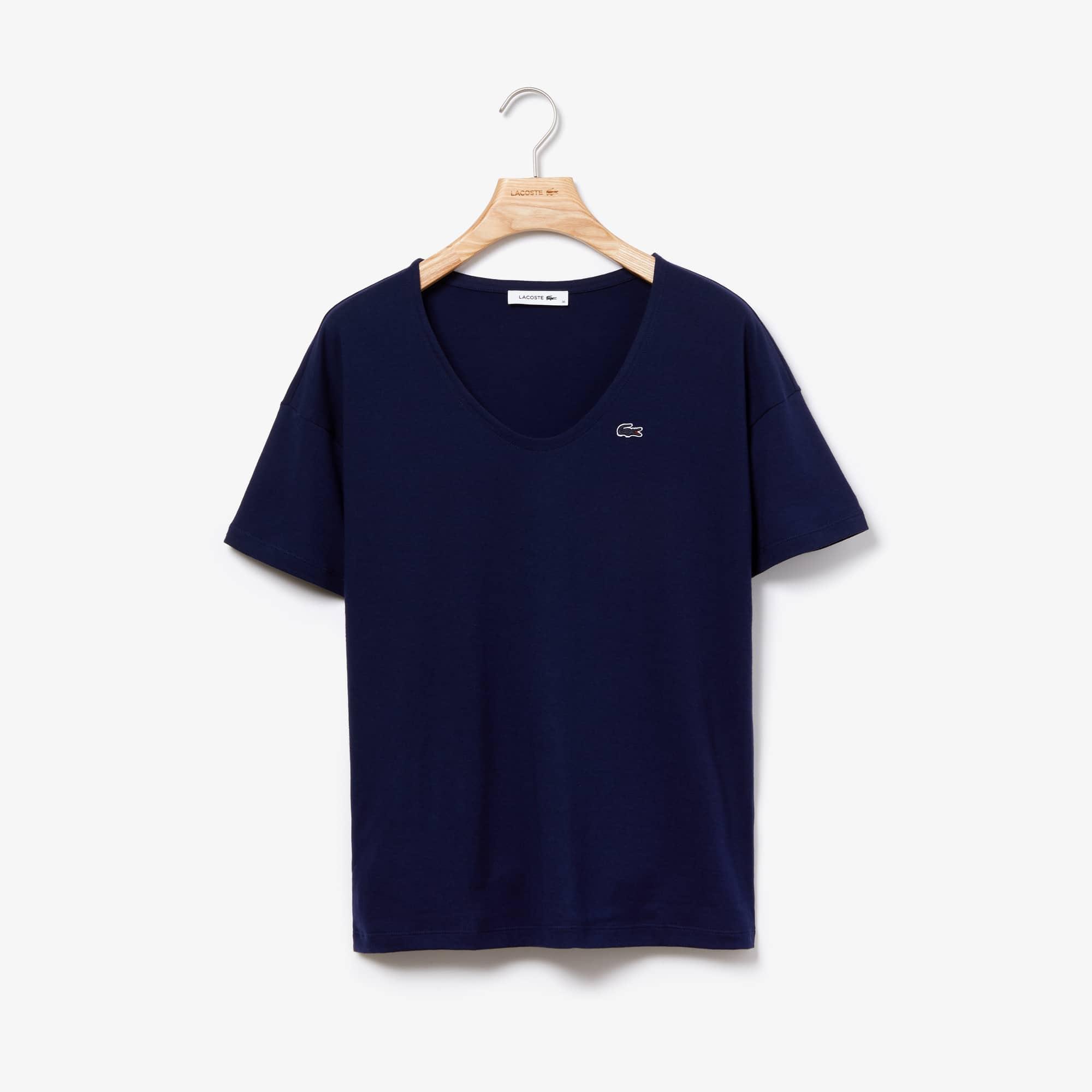 T-shirt col évasé en jersey de coton souple uni