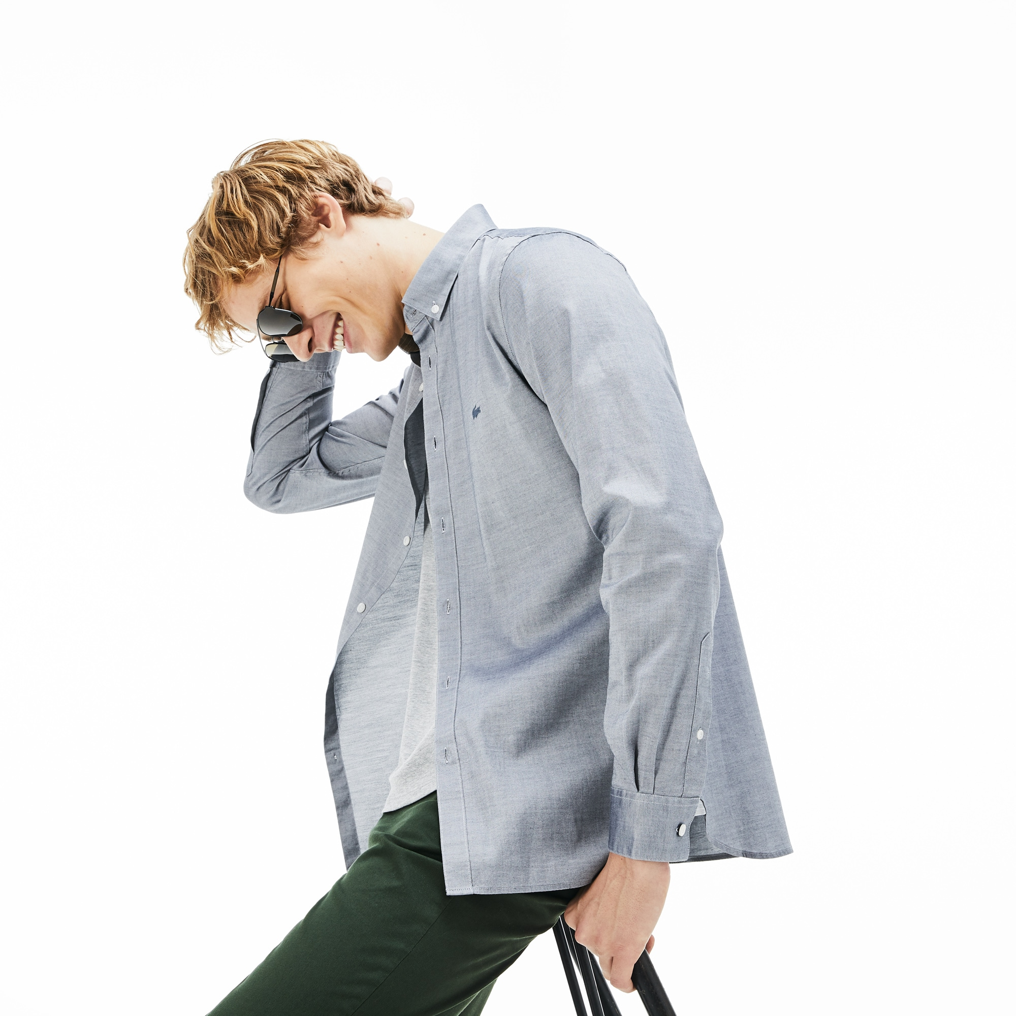 Chemise slim fit en pinpoint de coton stretch uni