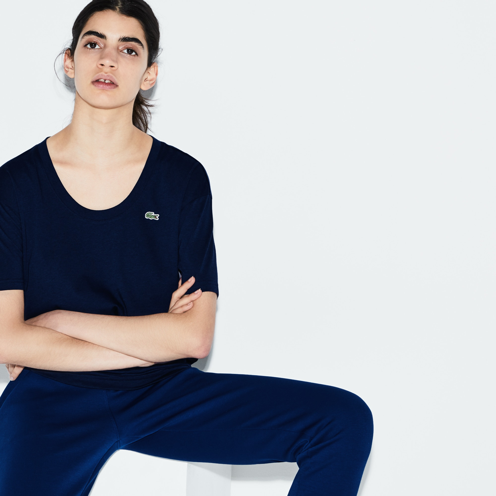 T-shirt col U Tennis Lacoste SPORT en jersey fluide uni