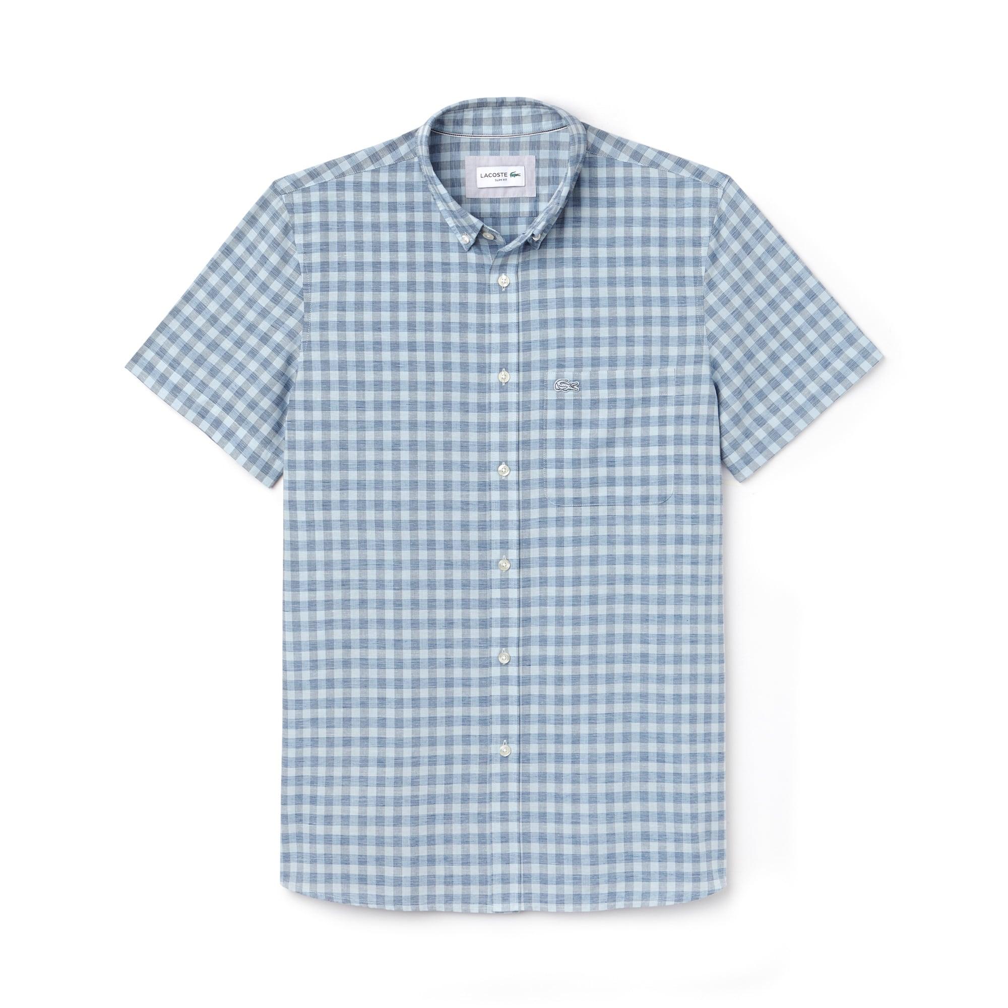 Chemise slim fit à manches courtes en popeline à carreaux