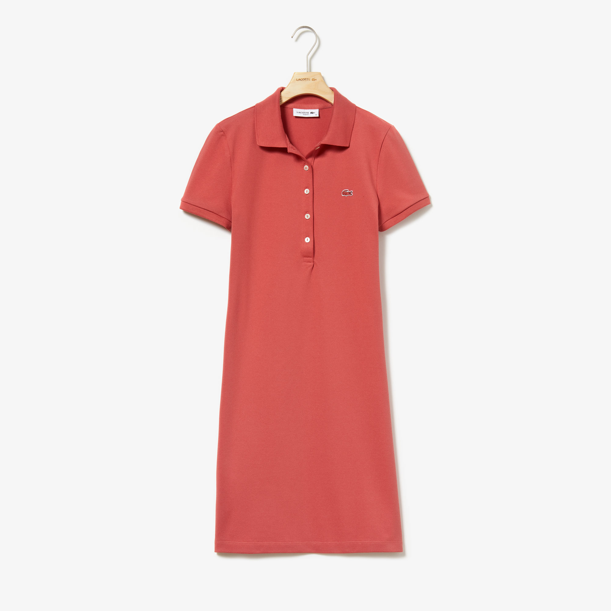Robe polo en mini piqué de coton stretch uni