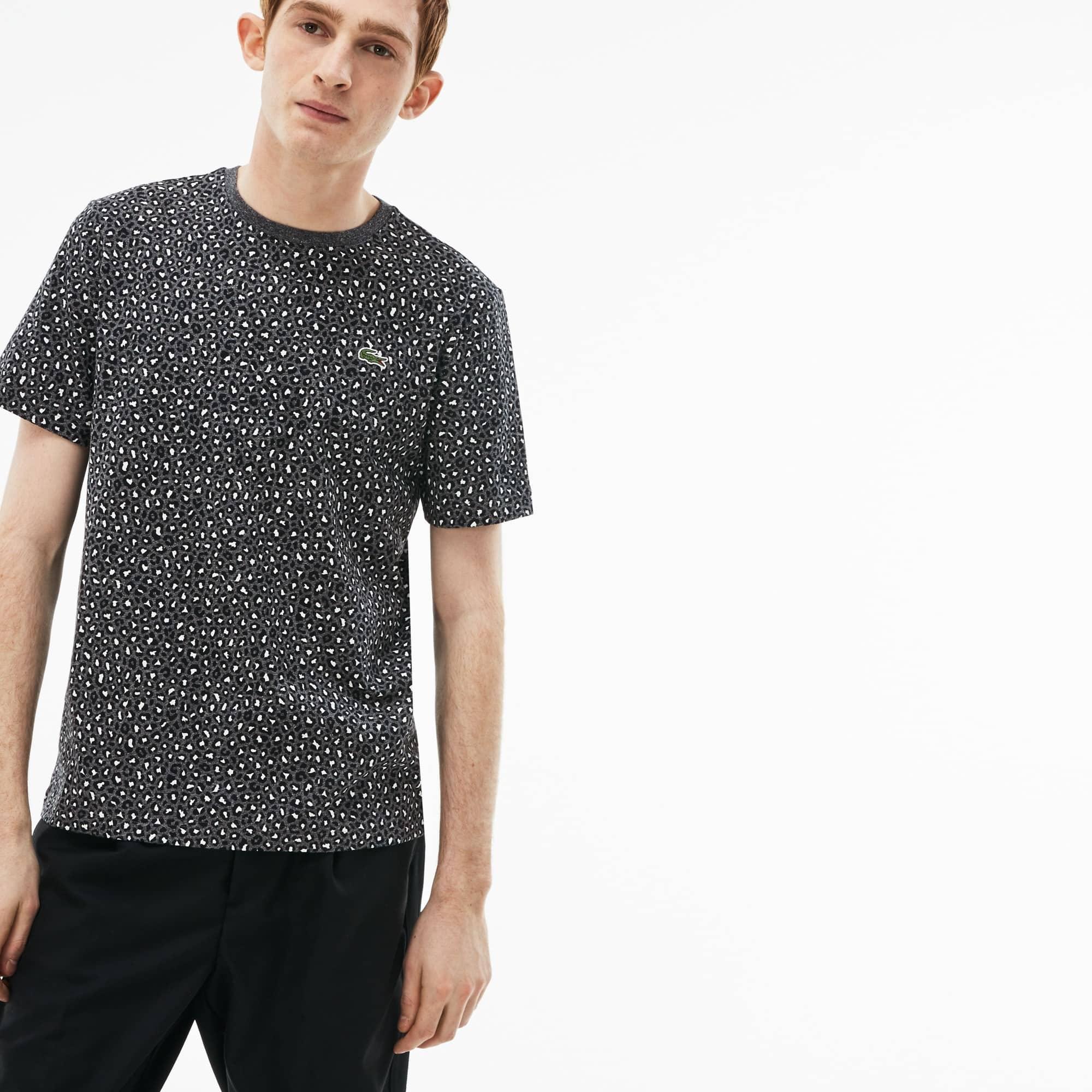 T-shirt col rond Lacoste LIVE en jersey imprimé léopard