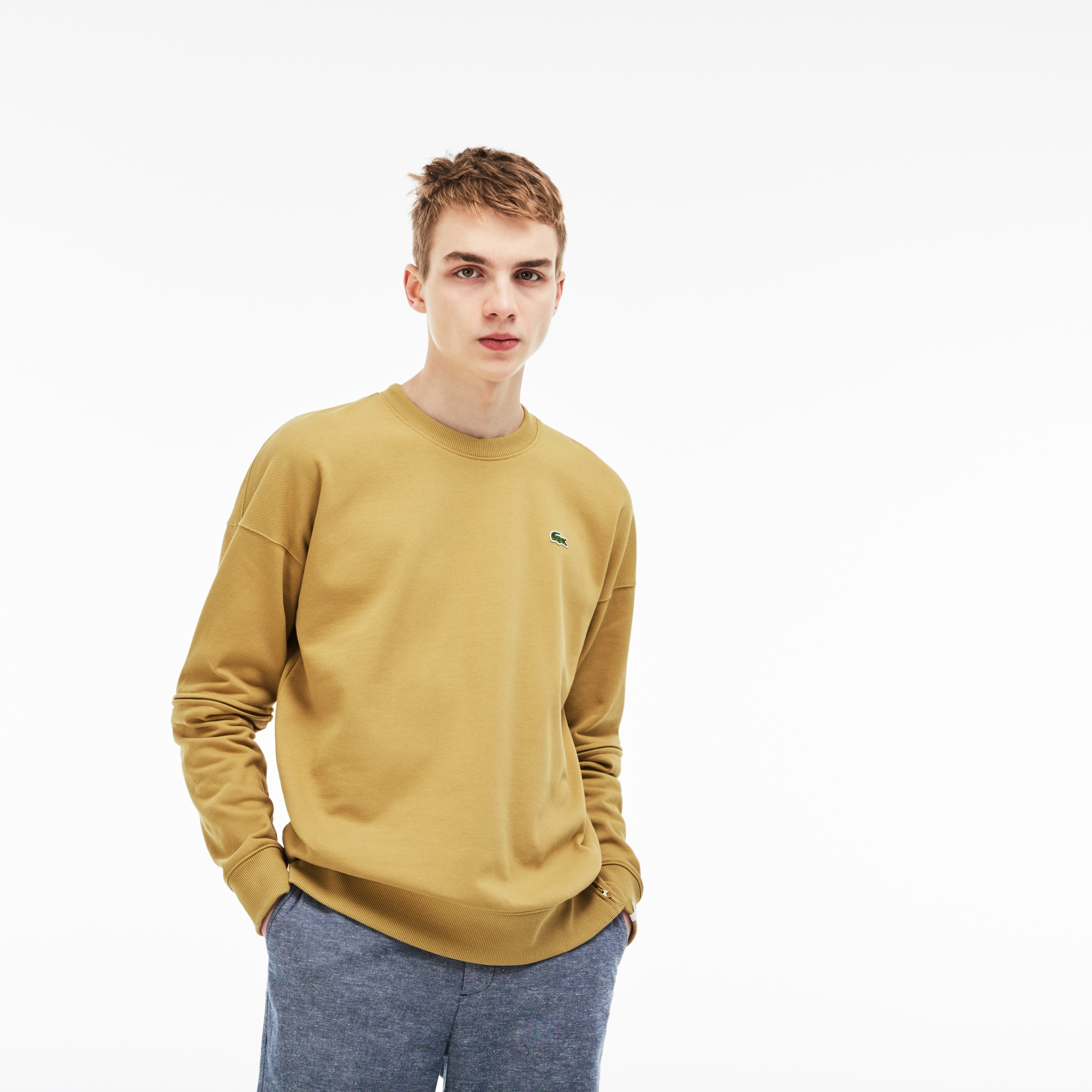 Sweatshirt ample Lacoste LIVE en molleton piqué avec manches amovibles