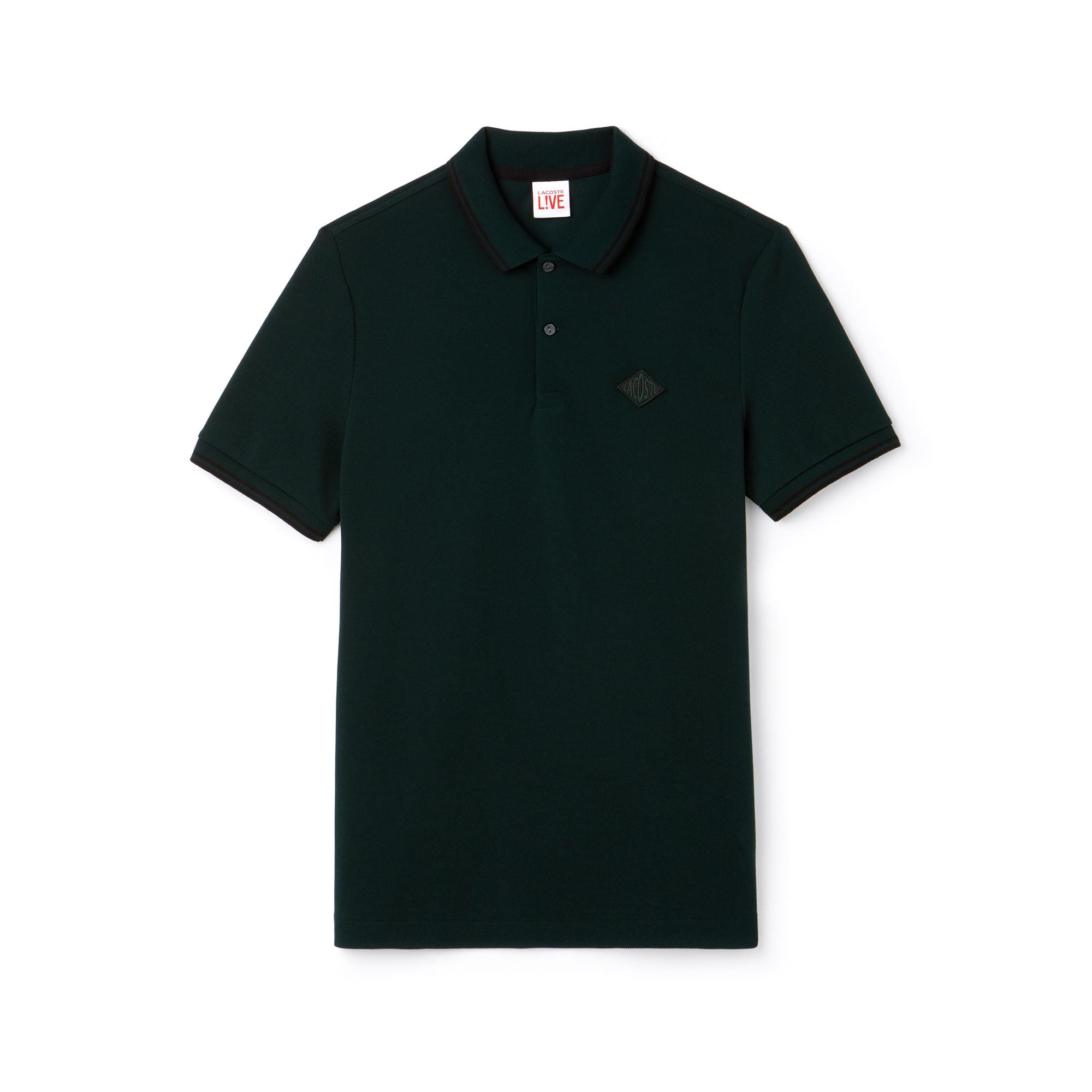 Polo slim fit Lacoste LIVE en petit piqué de coton avec bandes et badge