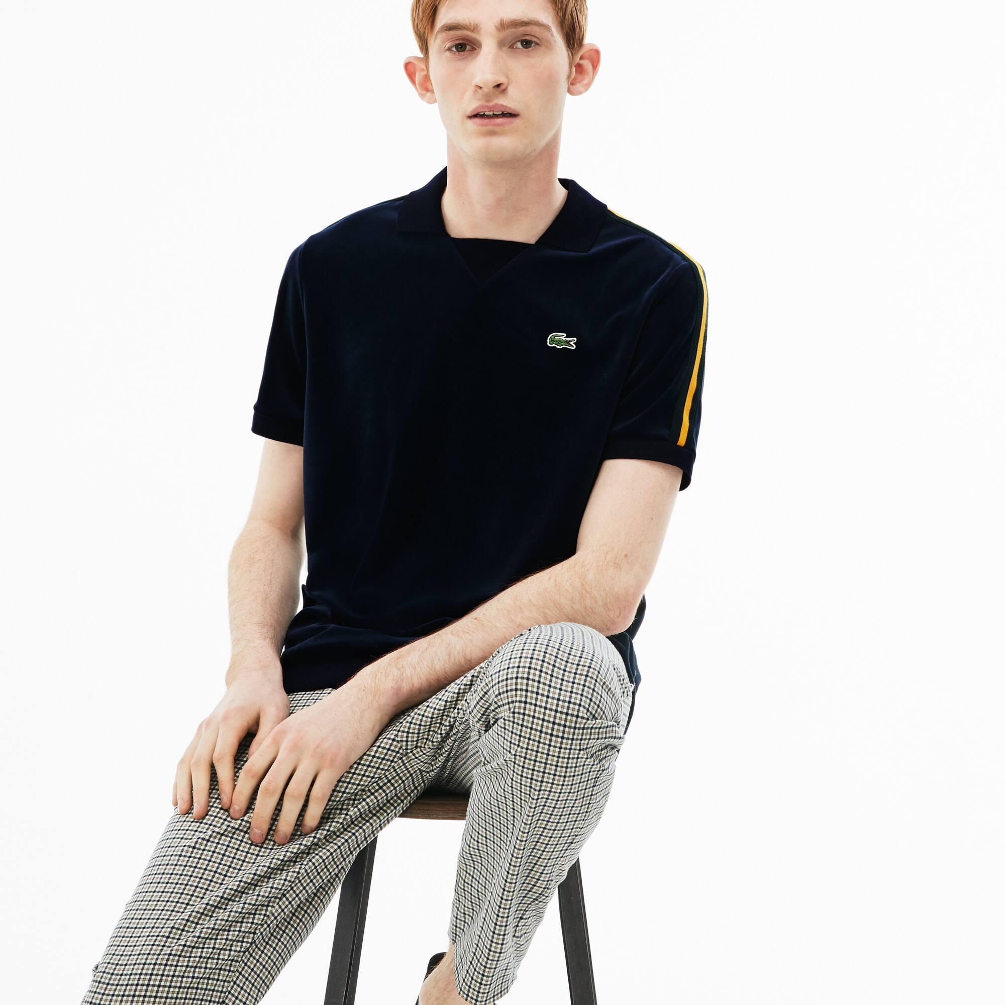 Polo slim fit Lacoste LIVE en velours avec bandes contrastées