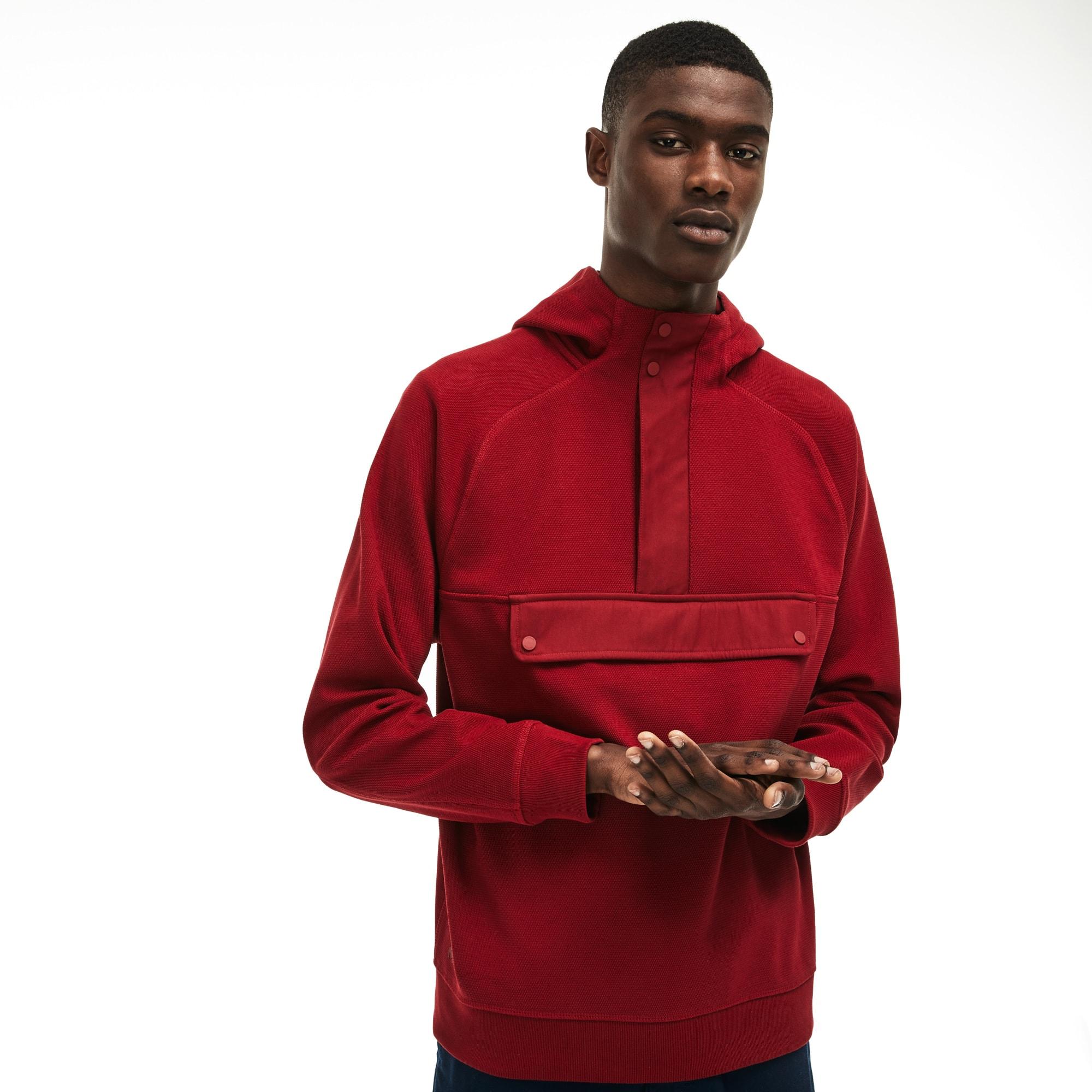 Sweatshirt à capuche en piqué jacquard de coton uni