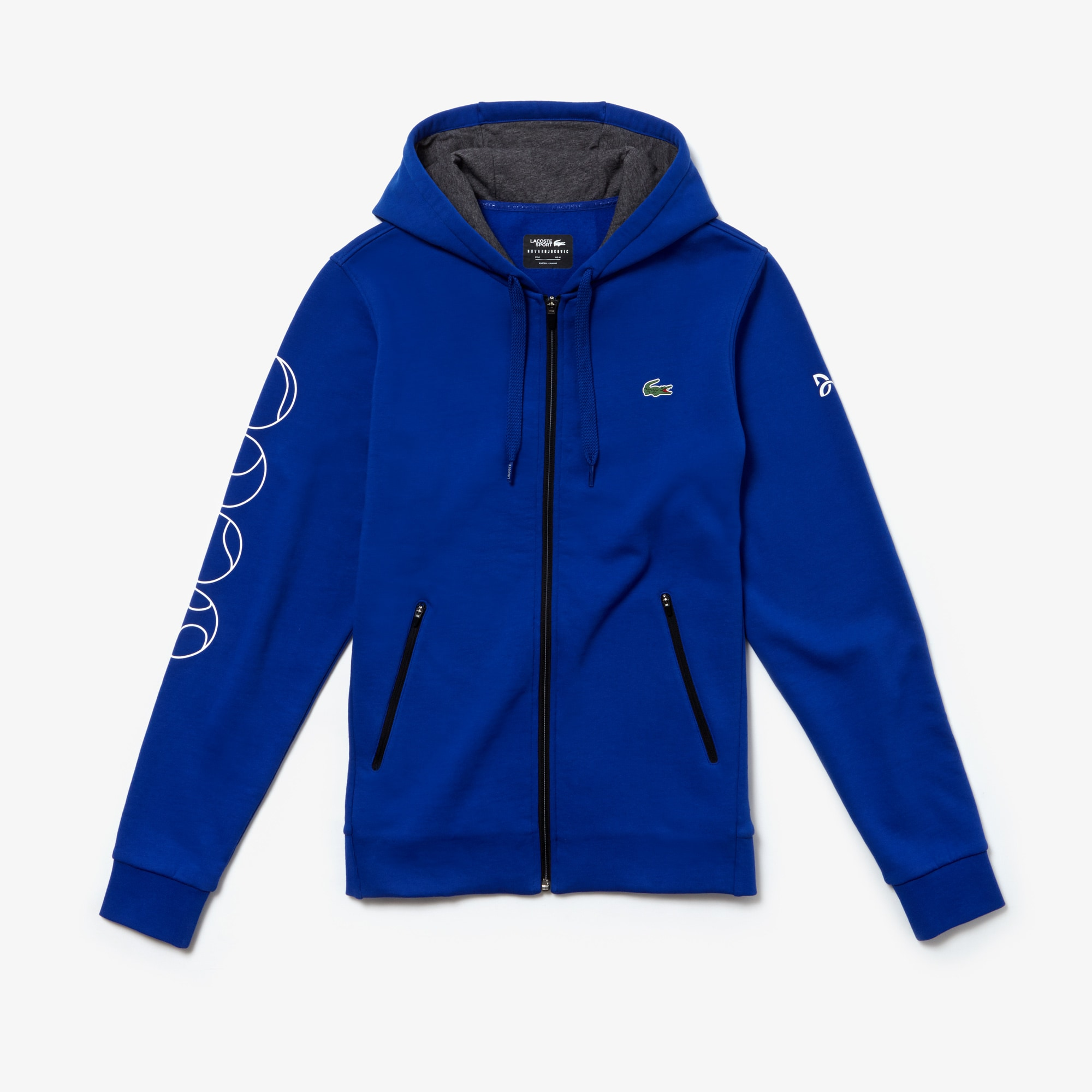 À Sport X Lacoste Zippé Capuche Djokovic Novak Sweatshirt Imprimé y7gYf6bv