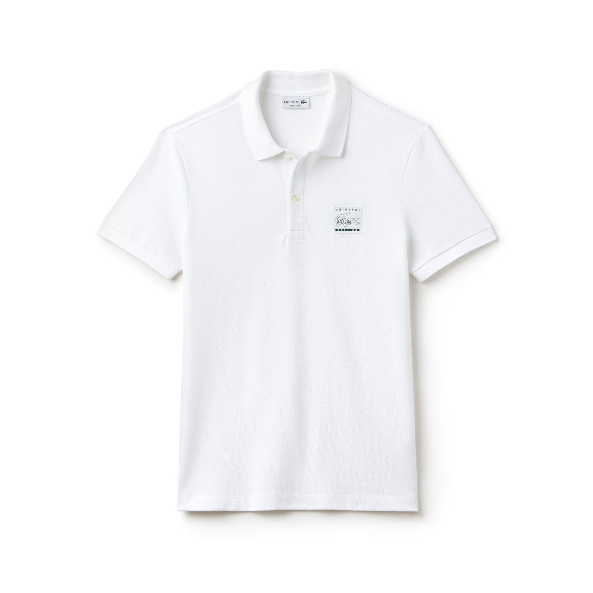 Polo regular fit Lacoste en petit piqué de coton uni avec patch