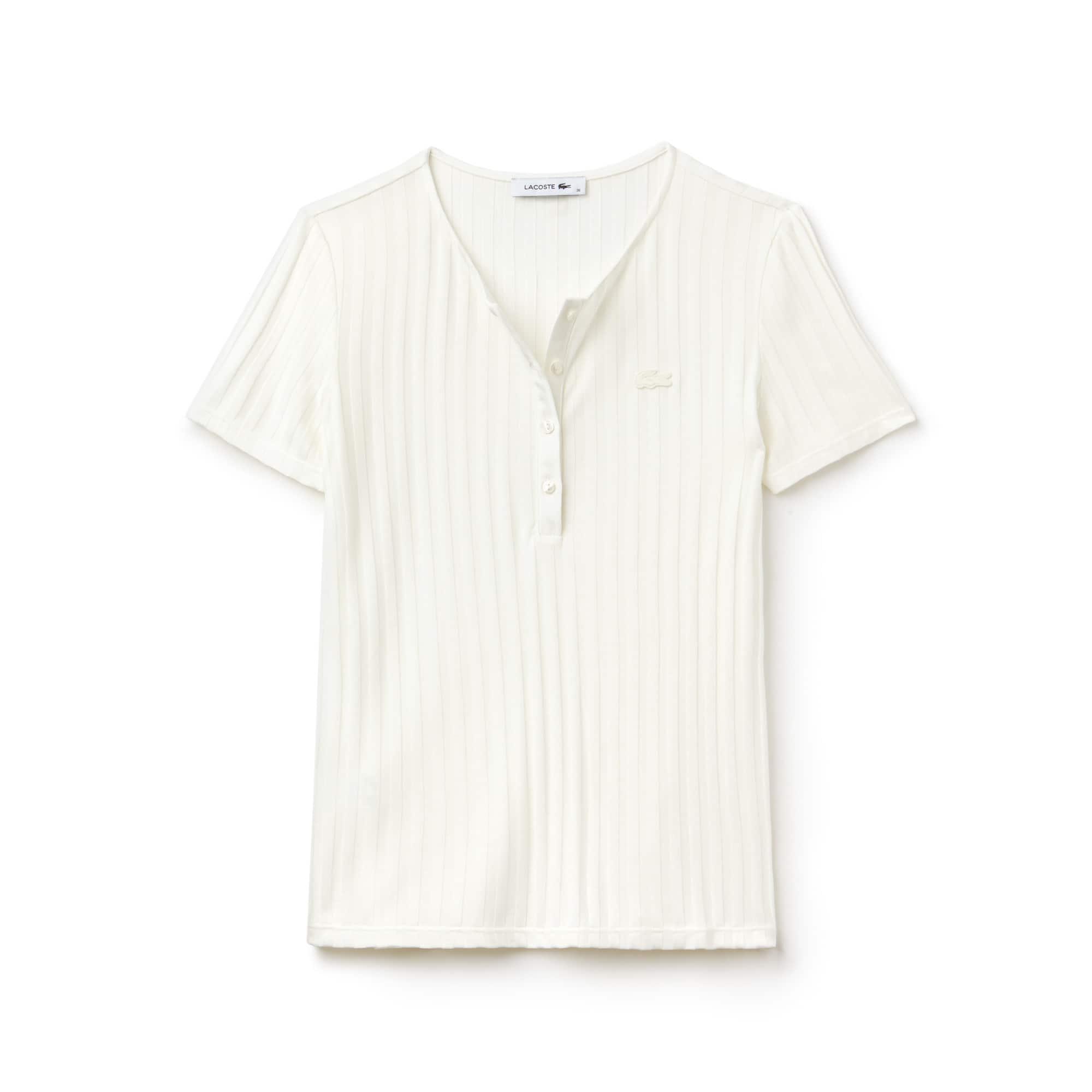 T-shirt col henley en maille côtelée unie