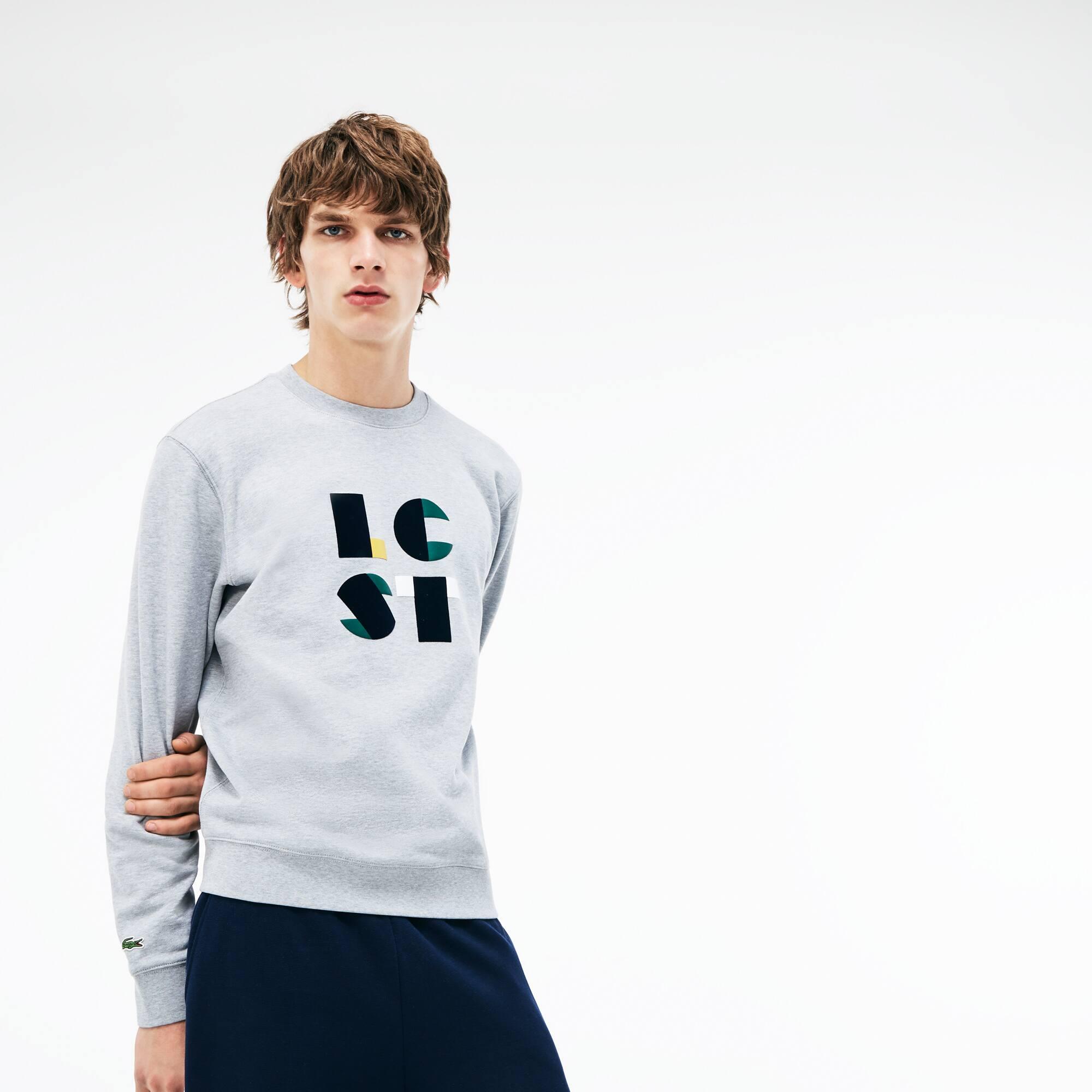 Sweatshirt col rond en molleton de coton avec marquage Lacoste