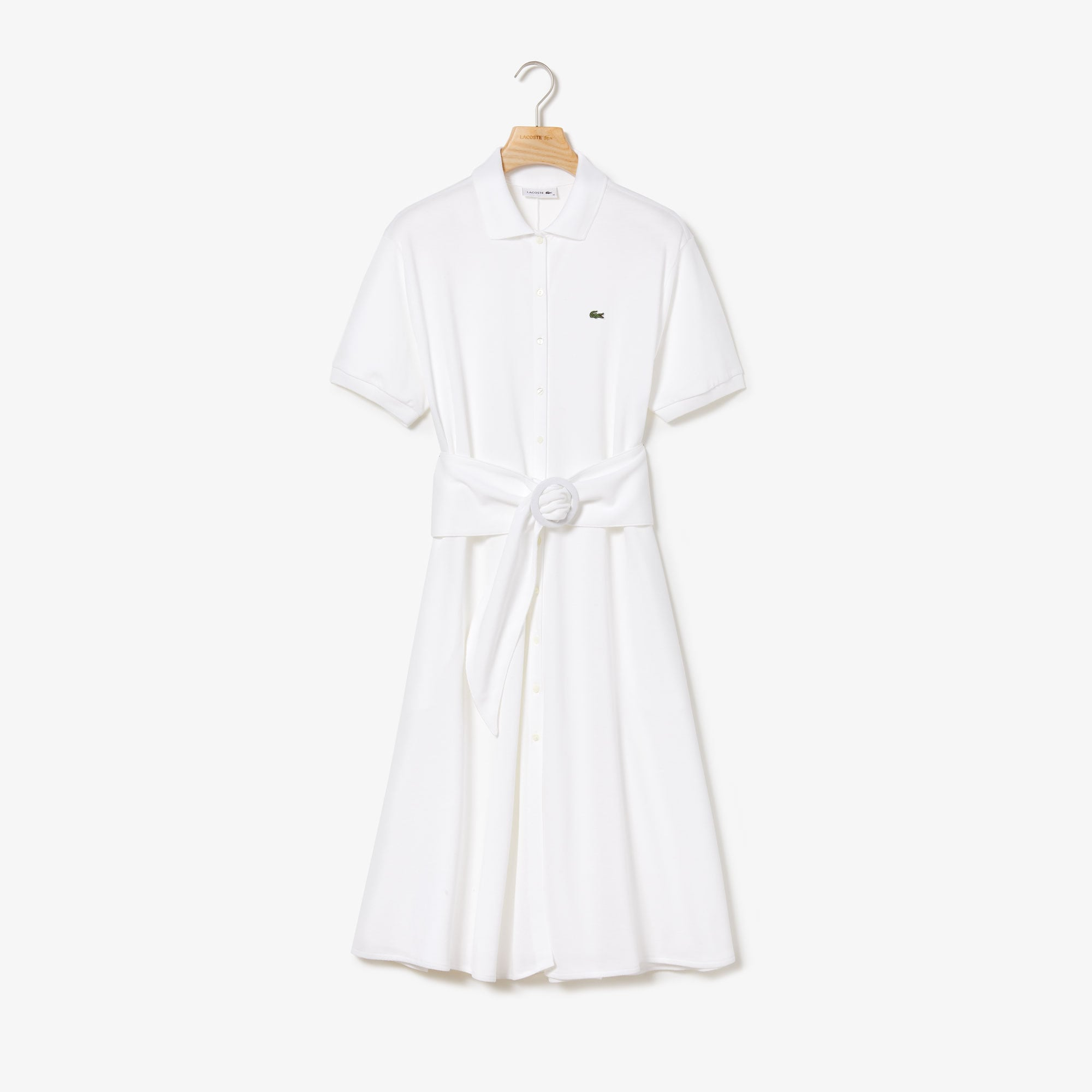 Robe polo boutonnée et ceinturée en petit piqué souple uni