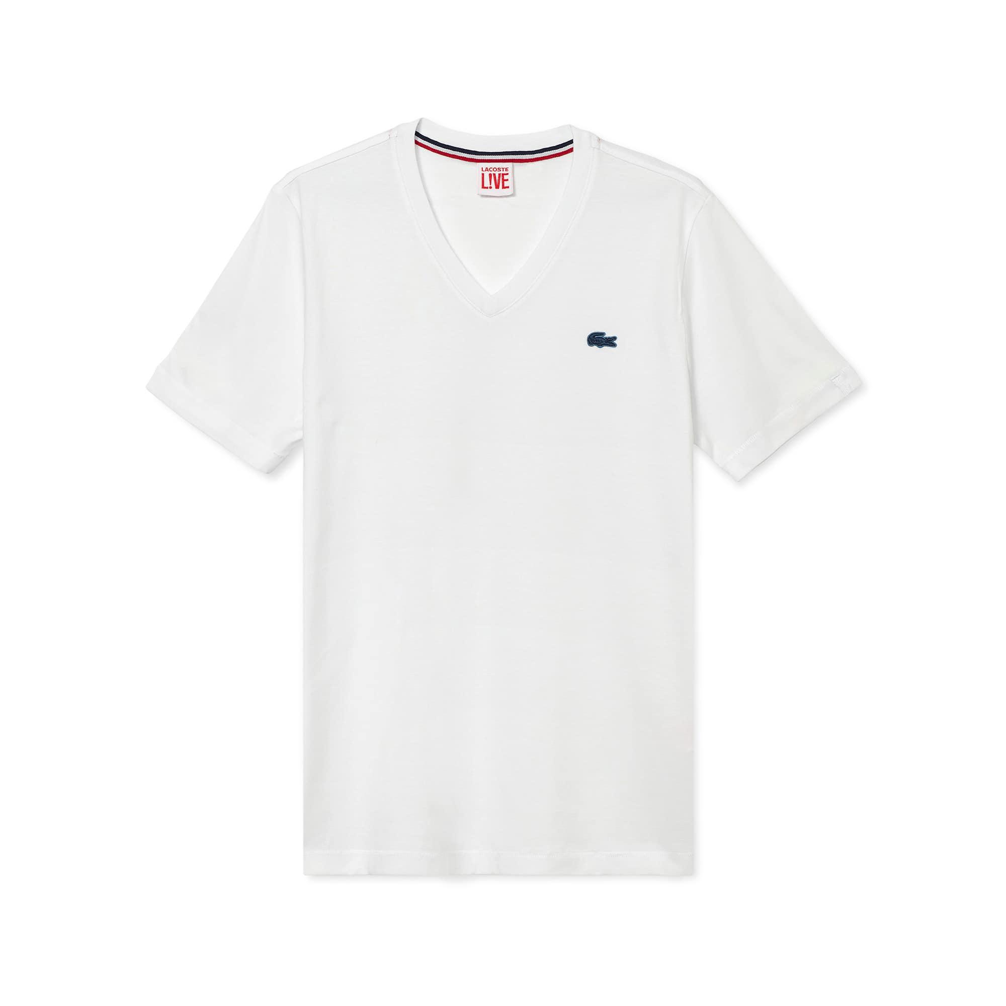 de7c04137e6 T-shirt col V unisexe Lacoste LIVE en jersey de coton uni ...