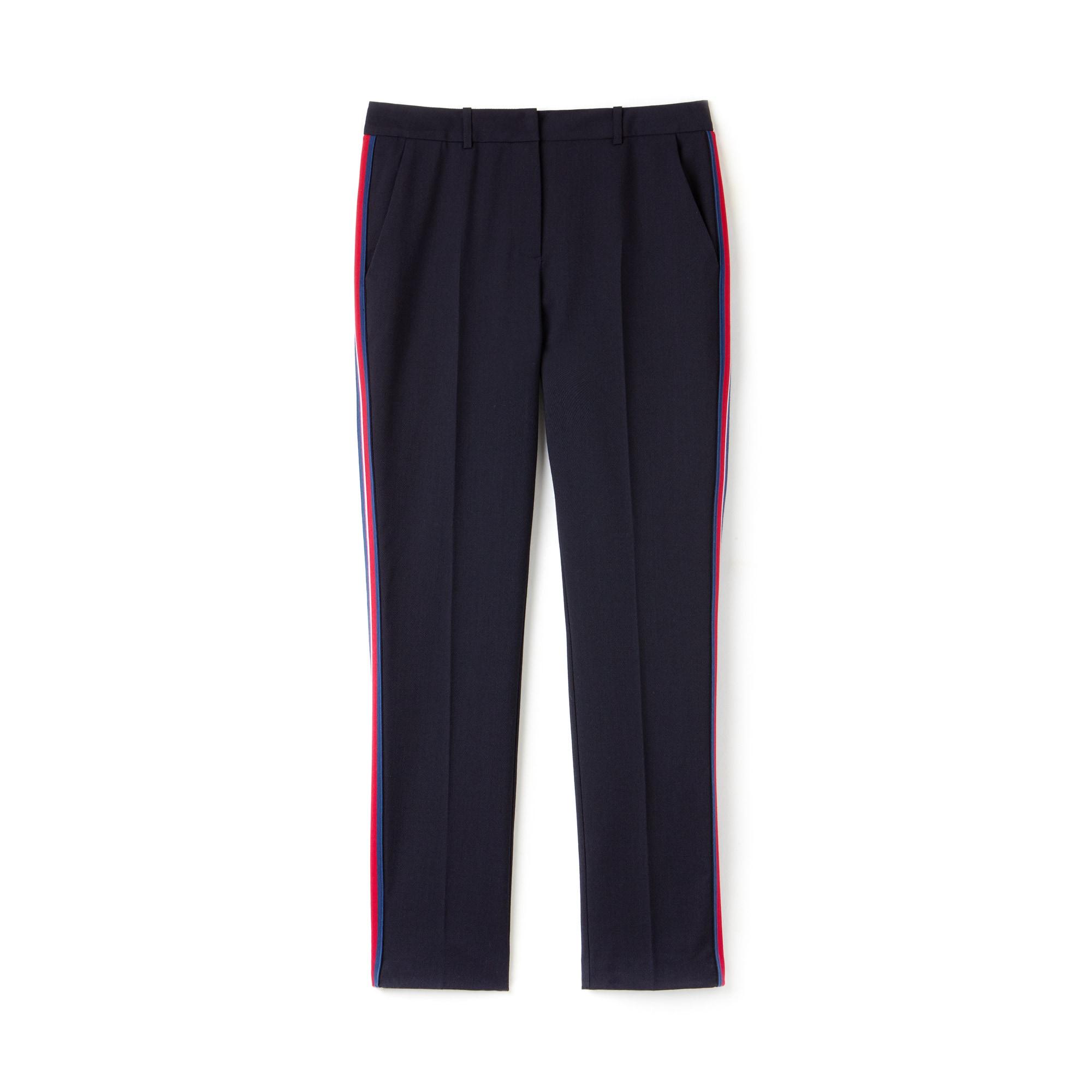 Pantalon slim fit en piqué de laine stretch à bandes latérales