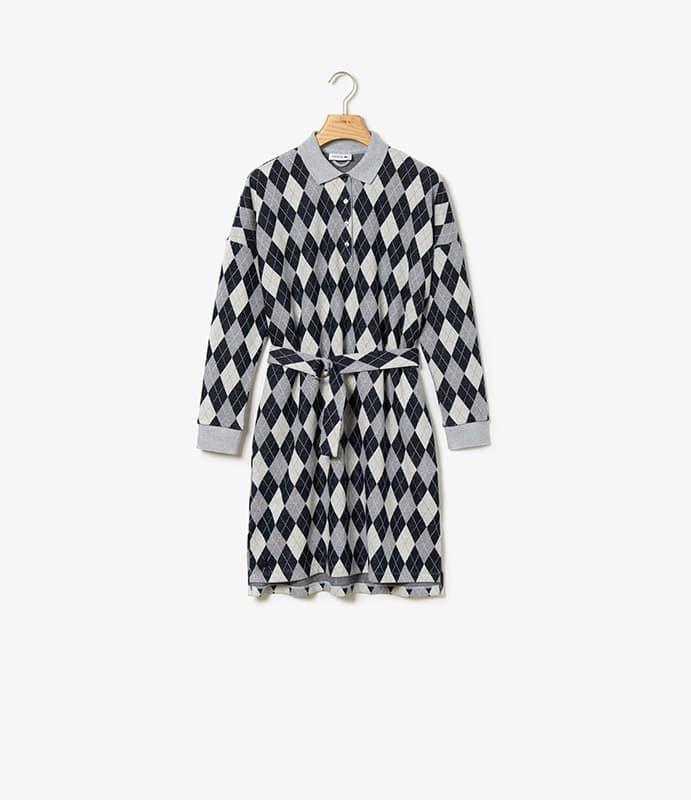 Lässiges Jacquard-Polo-Kleid aus Baumwolle und Wolle mit abnehmbarem Gürtel