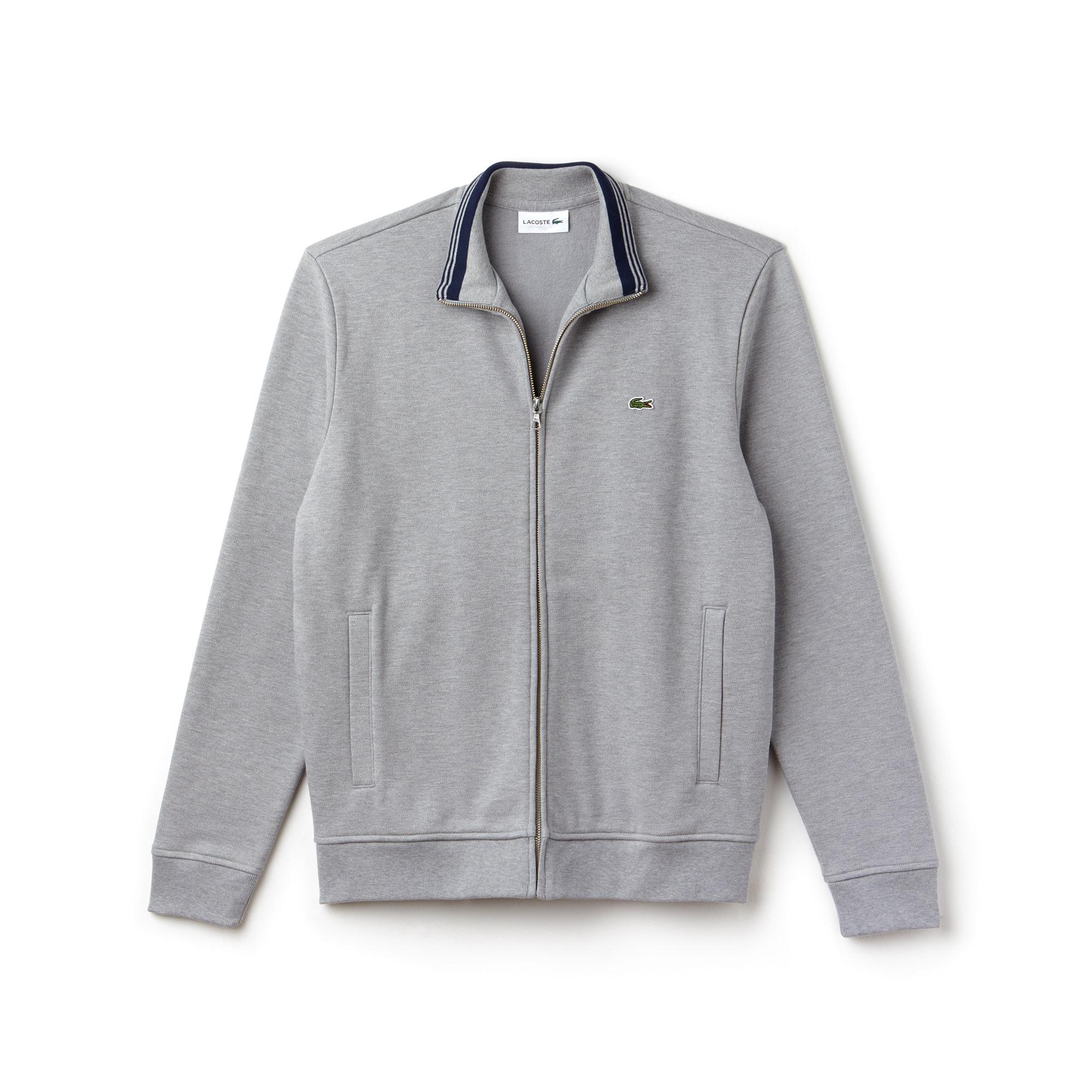 Herren-Sweatshirt aus Fleece mit Stehkragen und Reißverschluss