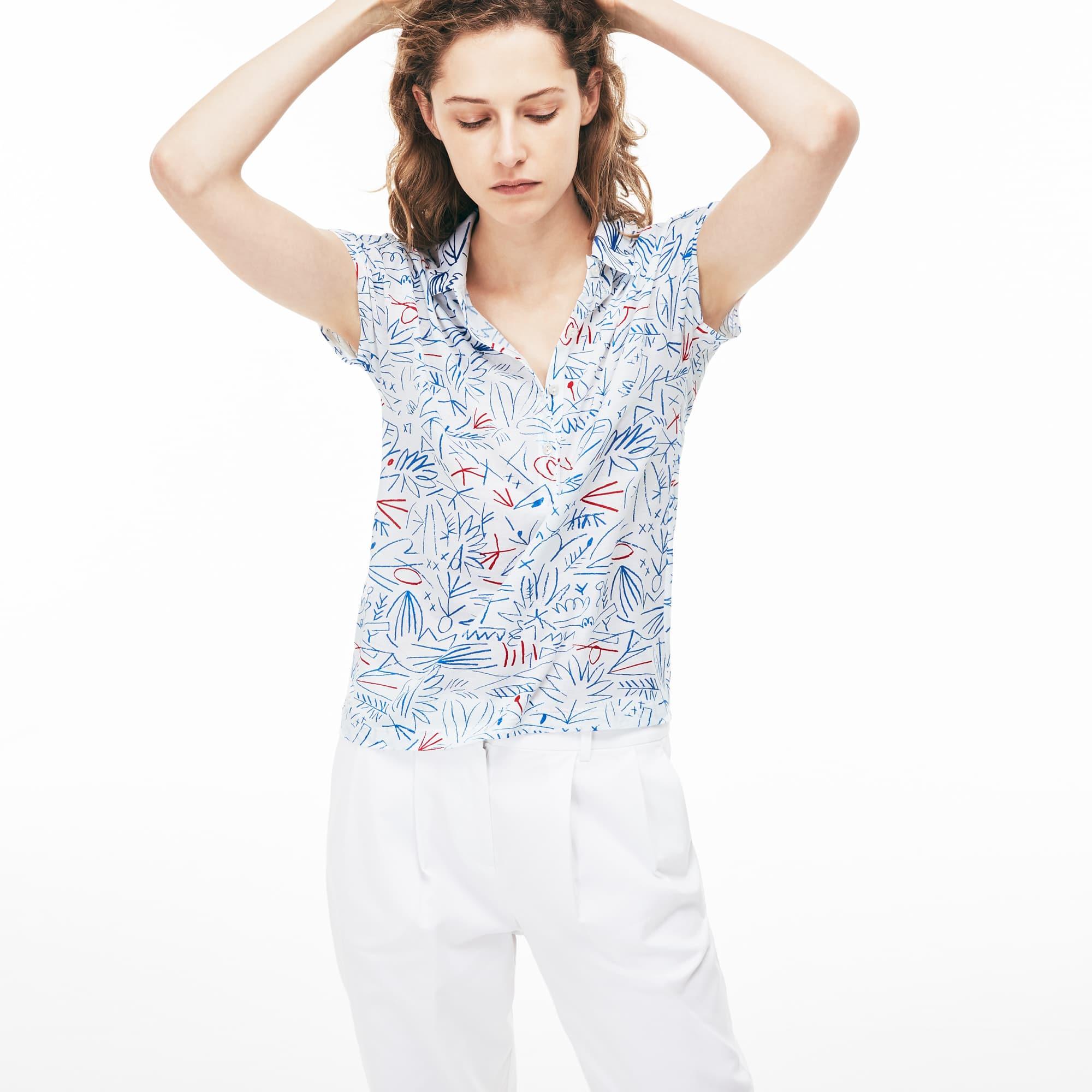 Damen Poloshirt aus Baumwollkrepp mit Aufdruck