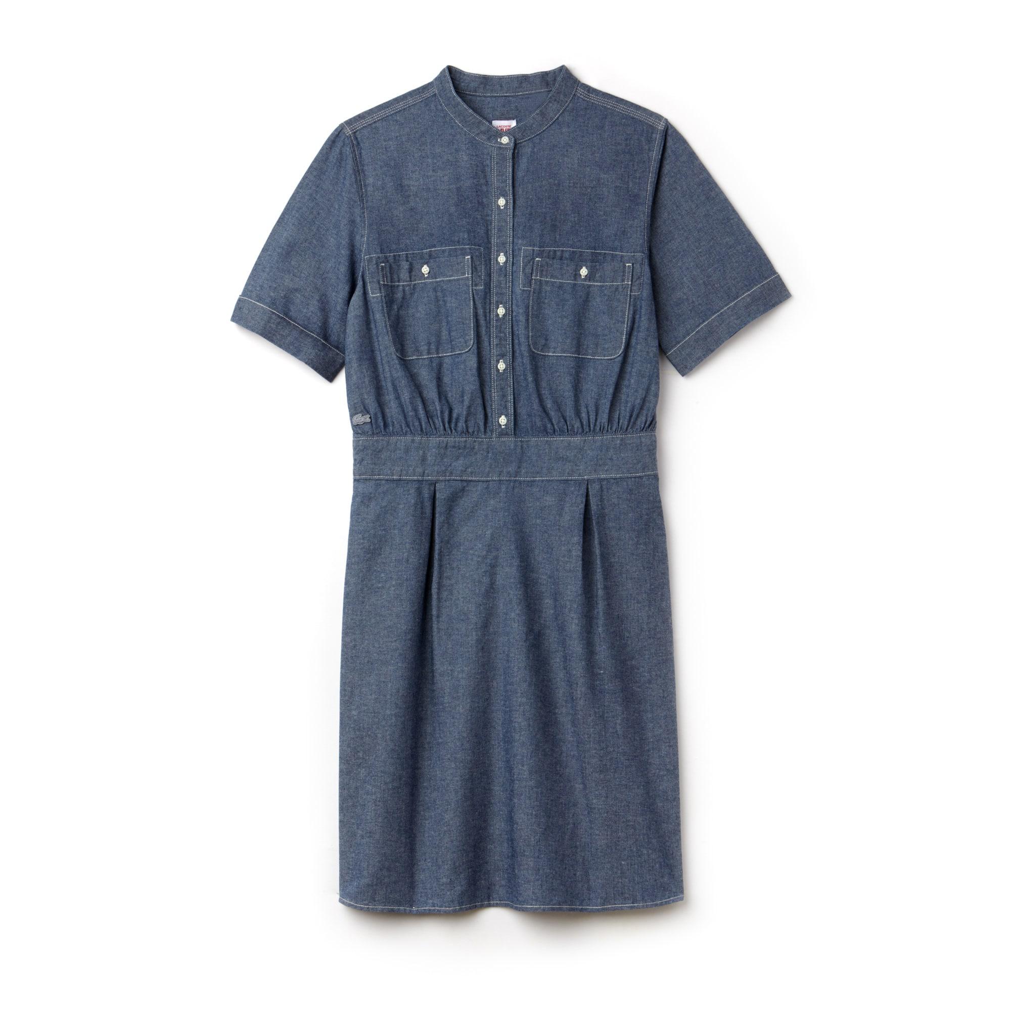 Damen-Kleid aus Baumwoll-Chambray mit Mandarinkragen LACOSTE L!VE