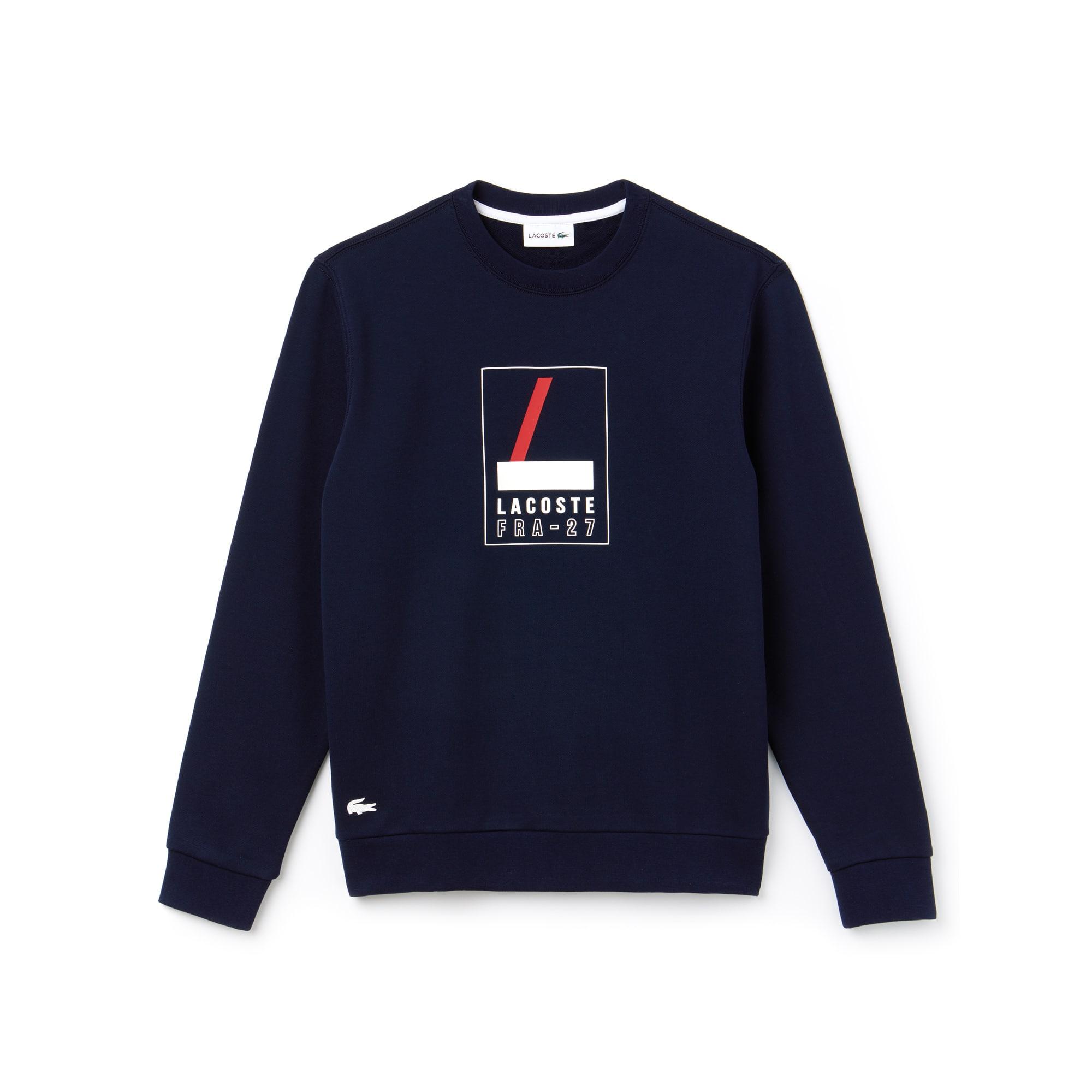 Herren-Rundhals-Sweatshirt aus Fleece mit Aufdruck